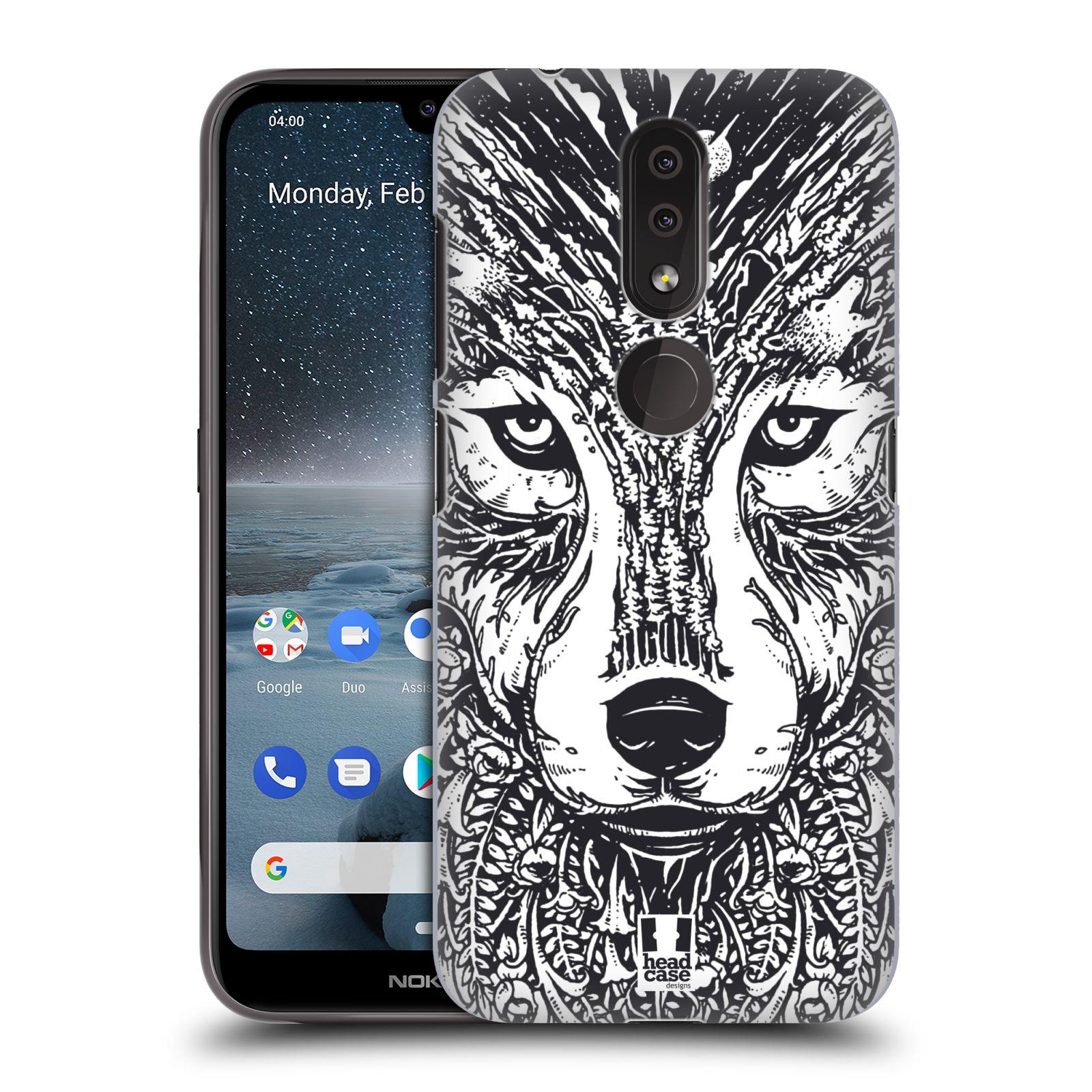 Plastové pouzdro na mobil Nokia 4.2 - Head Case - DOODLE TVÁŘ VLK