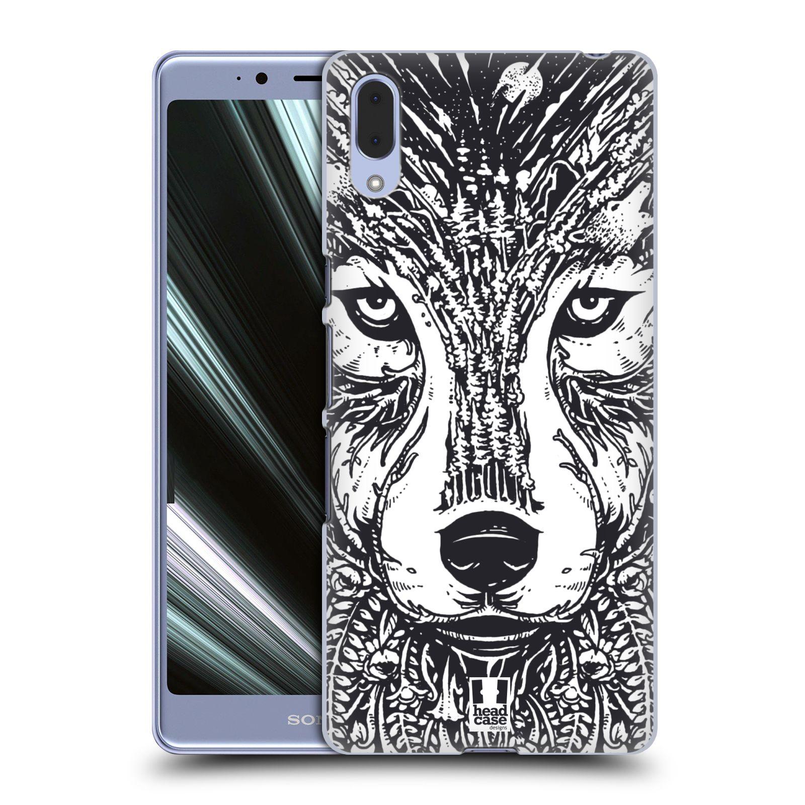 Plastové pouzdro na mobil Sony Xperia L3 - Head Case - DOODLE TVÁŘ VLK