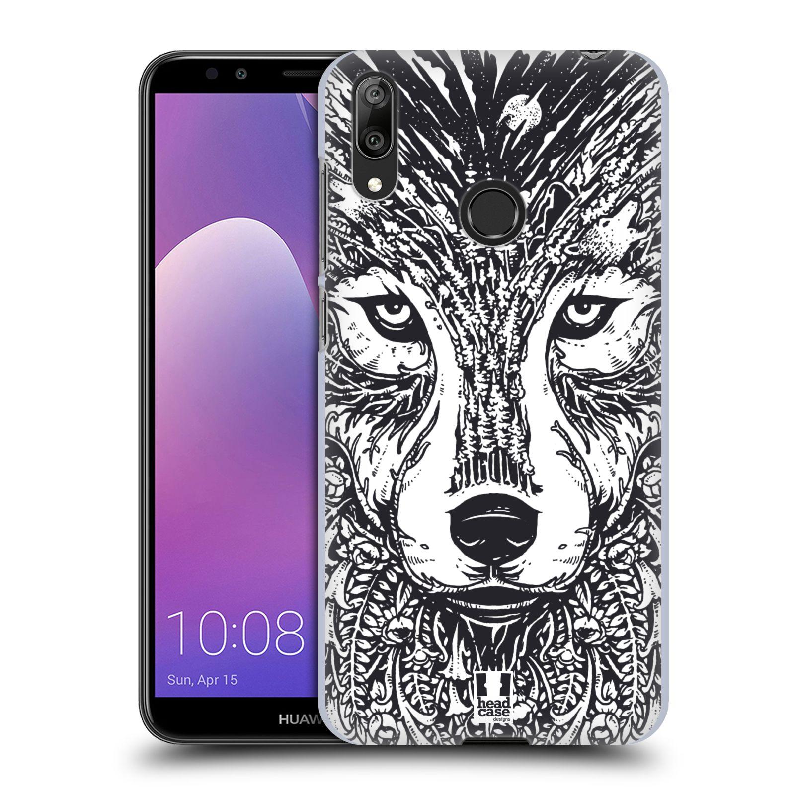 Plastové pouzdro na mobil Huawei Y7 (2019) - Head Case - DOODLE TVÁŘ VLK