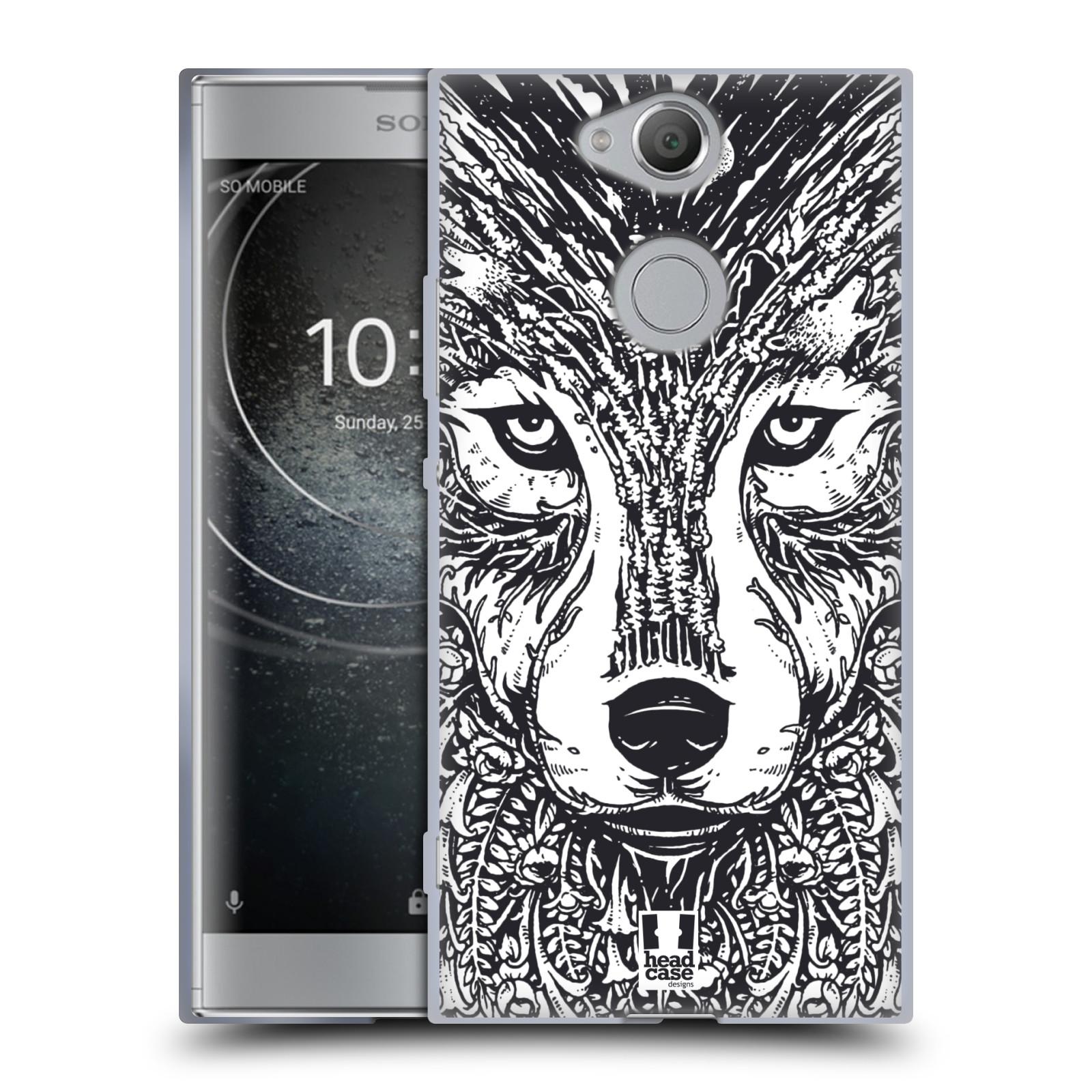 Silikonové pouzdro na mobil Sony Xperia XA2 - Head Case - DOODLE TVÁŘ VLK (Silikonový kryt či obal na mobilní telefon Sony Xperia XA2 H4113 s motivem DOODLE TVÁŘ VLK)