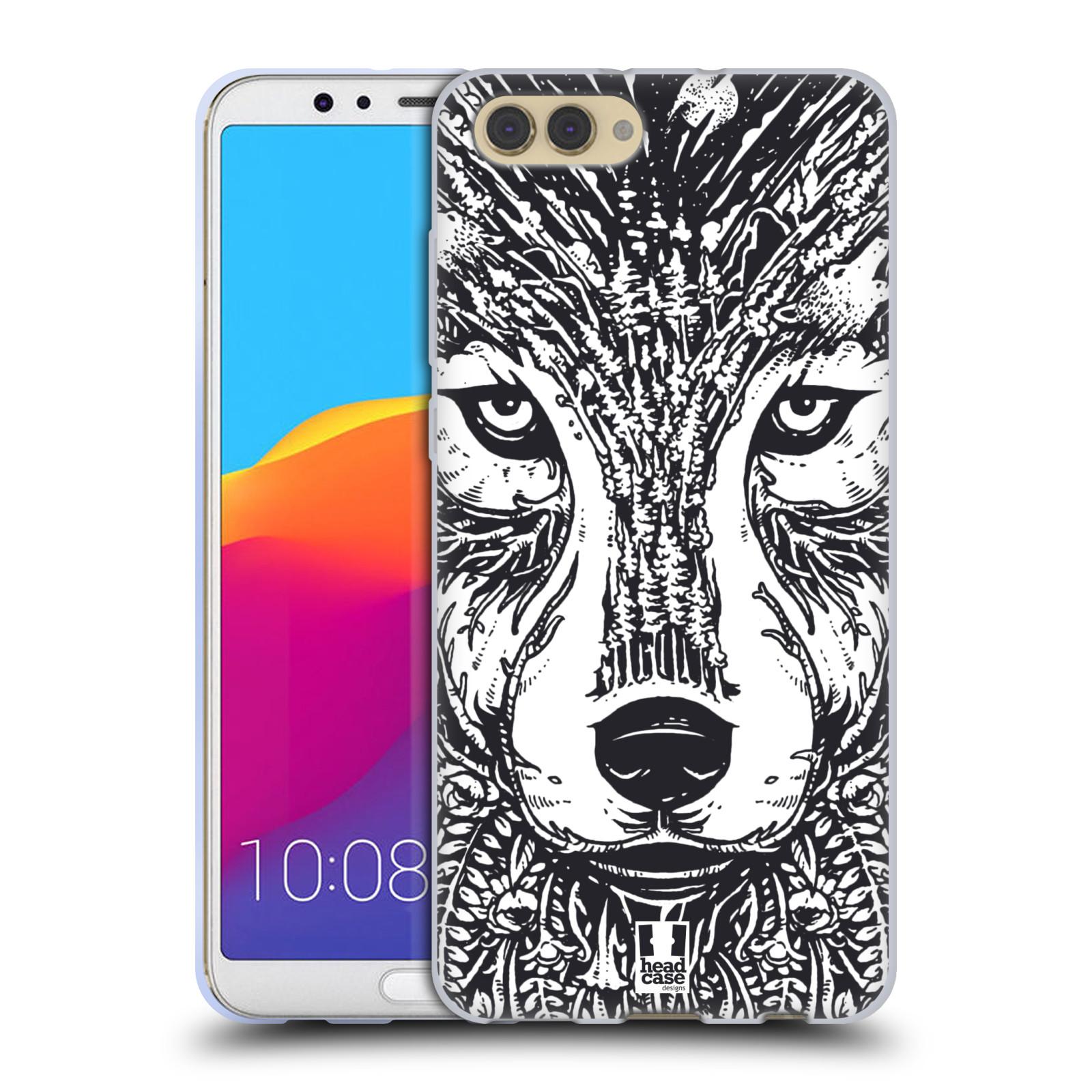 Silikonové pouzdro na mobil Honor View 10 - Head Case - DOODLE TVÁŘ VLK (Silikonový kryt či obal na mobilní telefon Honor View 10 s motivem DOODLE TVÁŘ VLK)