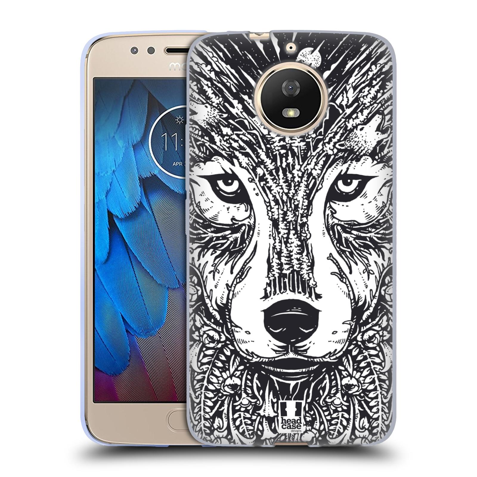 Silikonové pouzdro na mobil Lenovo Moto G5s - Head Case - DOODLE TVÁŘ VLK