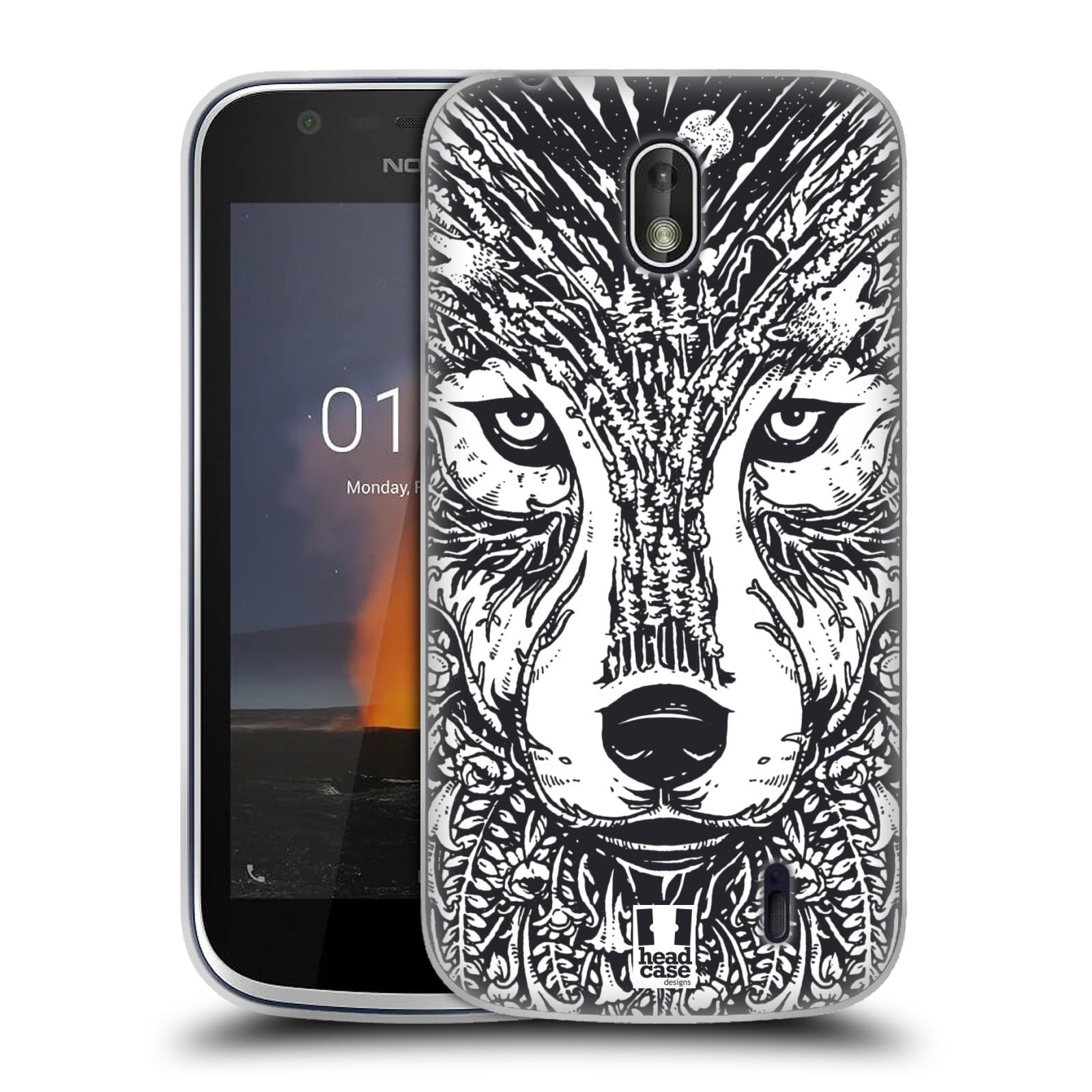 Silikonové pouzdro na mobil Nokia 1 - Head Case - DOODLE TVÁŘ VLK (Silikonový kryt či obal na mobilní telefon Nokia 1 Dual SIM s motivem DOODLE TVÁŘ VLK)