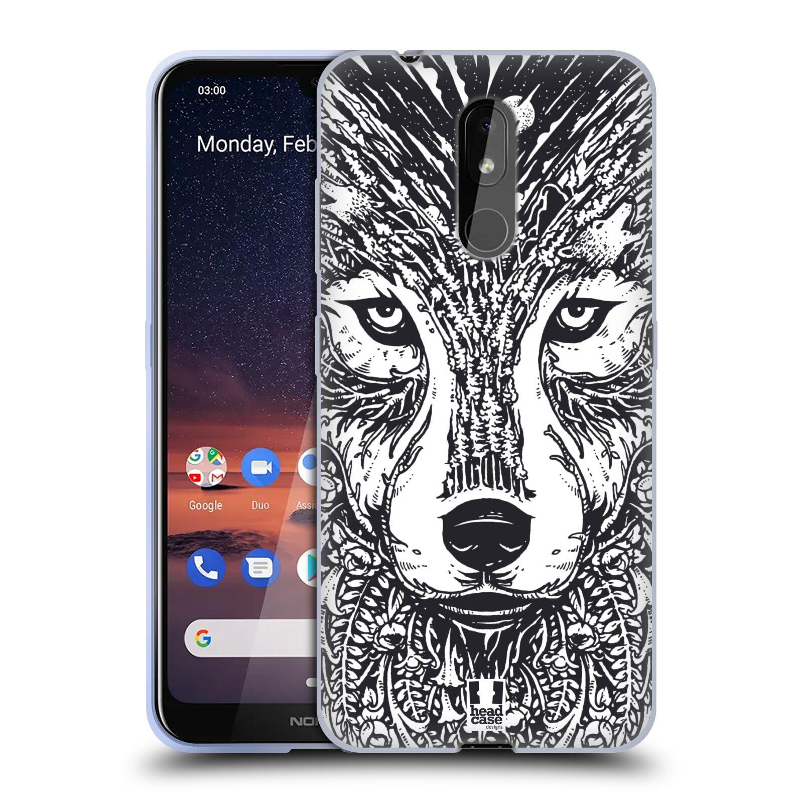 Silikonové pouzdro na mobil Nokia 3.2 - Head Case - DOODLE TVÁŘ VLK