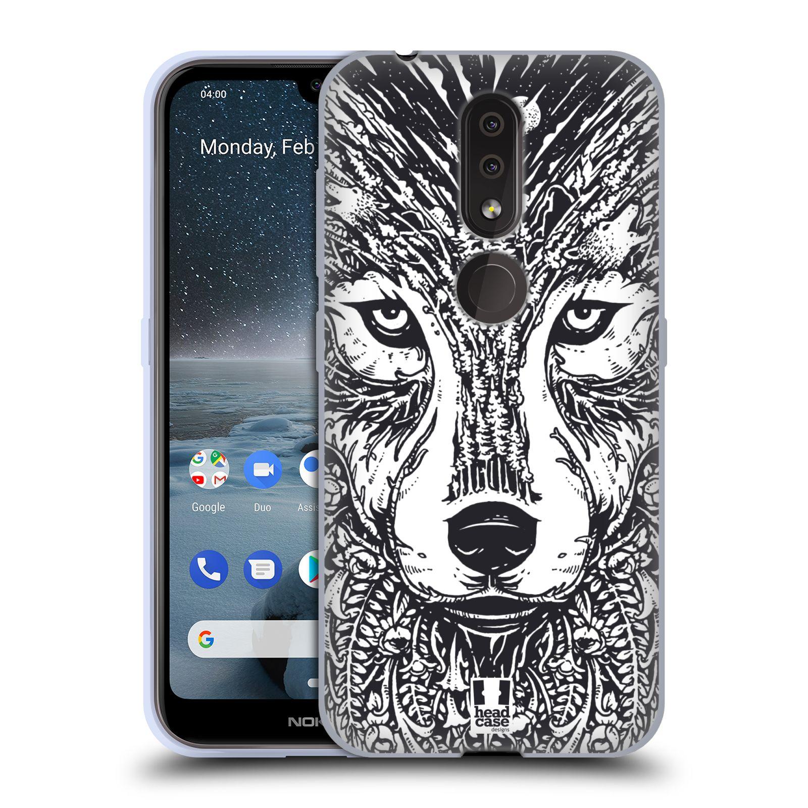 Silikonové pouzdro na mobil Nokia 4.2 - Head Case - DOODLE TVÁŘ VLK