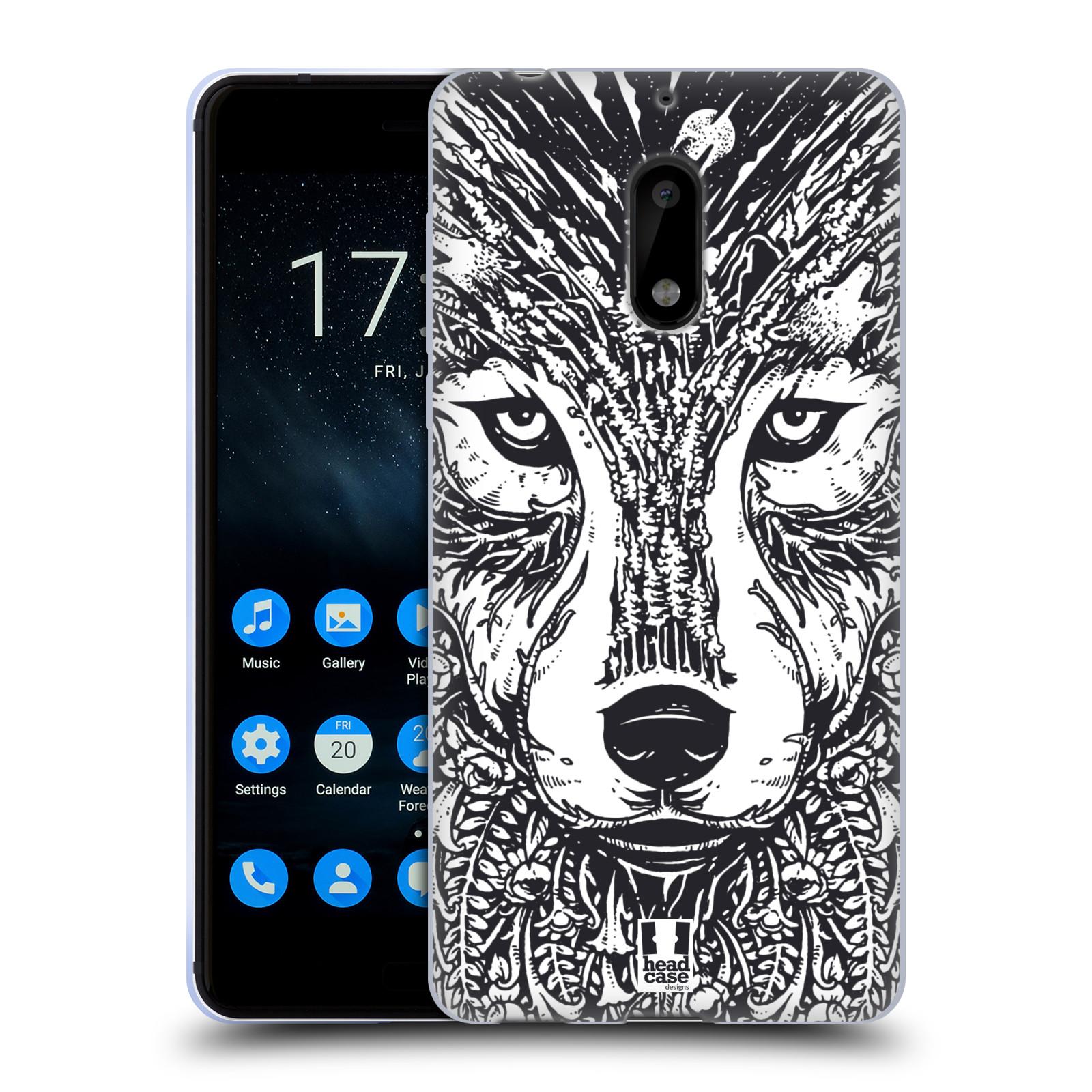 Silikonové pouzdro na mobil Nokia 6 - Head Case - DOODLE TVÁŘ VLK (Silikonový kryt či obal na mobilní telefon Nokia 6 s motivem DOODLE TVÁŘ VLK)