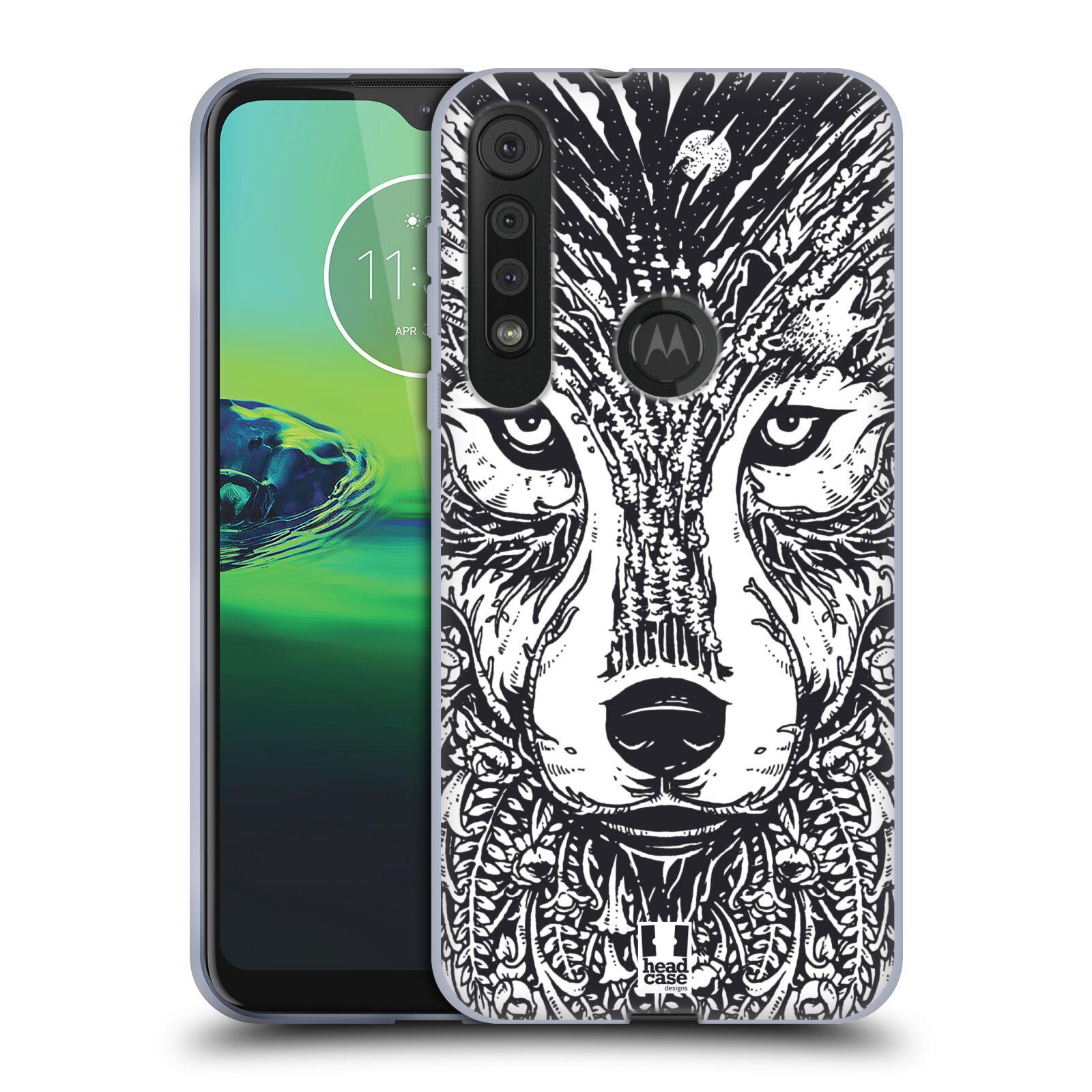 Silikonové pouzdro na mobil Motorola One Macro - Head Case - DOODLE TVÁŘ VLK
