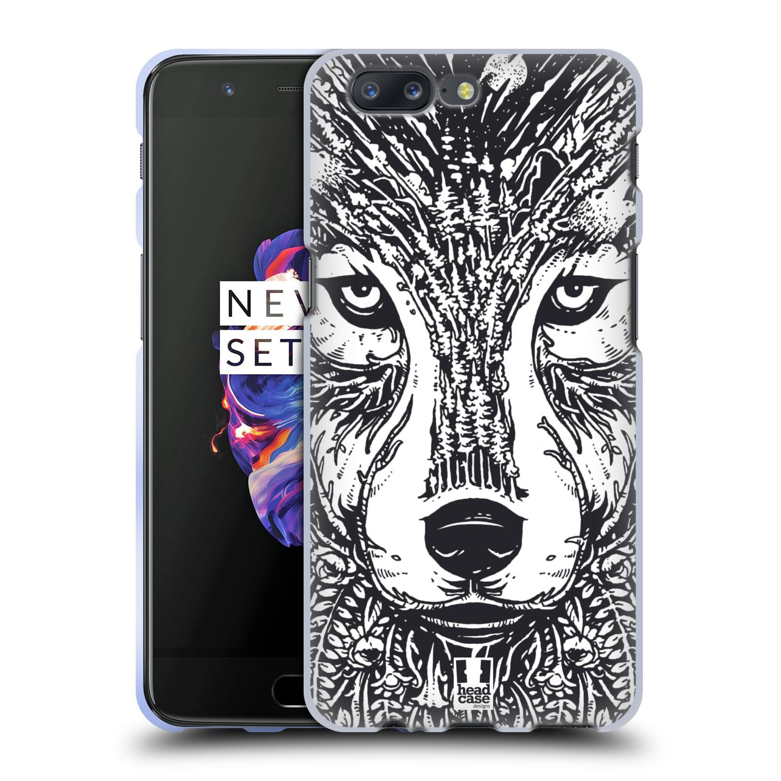 Silikonové pouzdro na mobil OnePlus 5 - Head Case - DOODLE TVÁŘ VLK (Silikonový kryt či obal na mobilní telefon OnePlus 5 s motivem DOODLE TVÁŘ VLK)