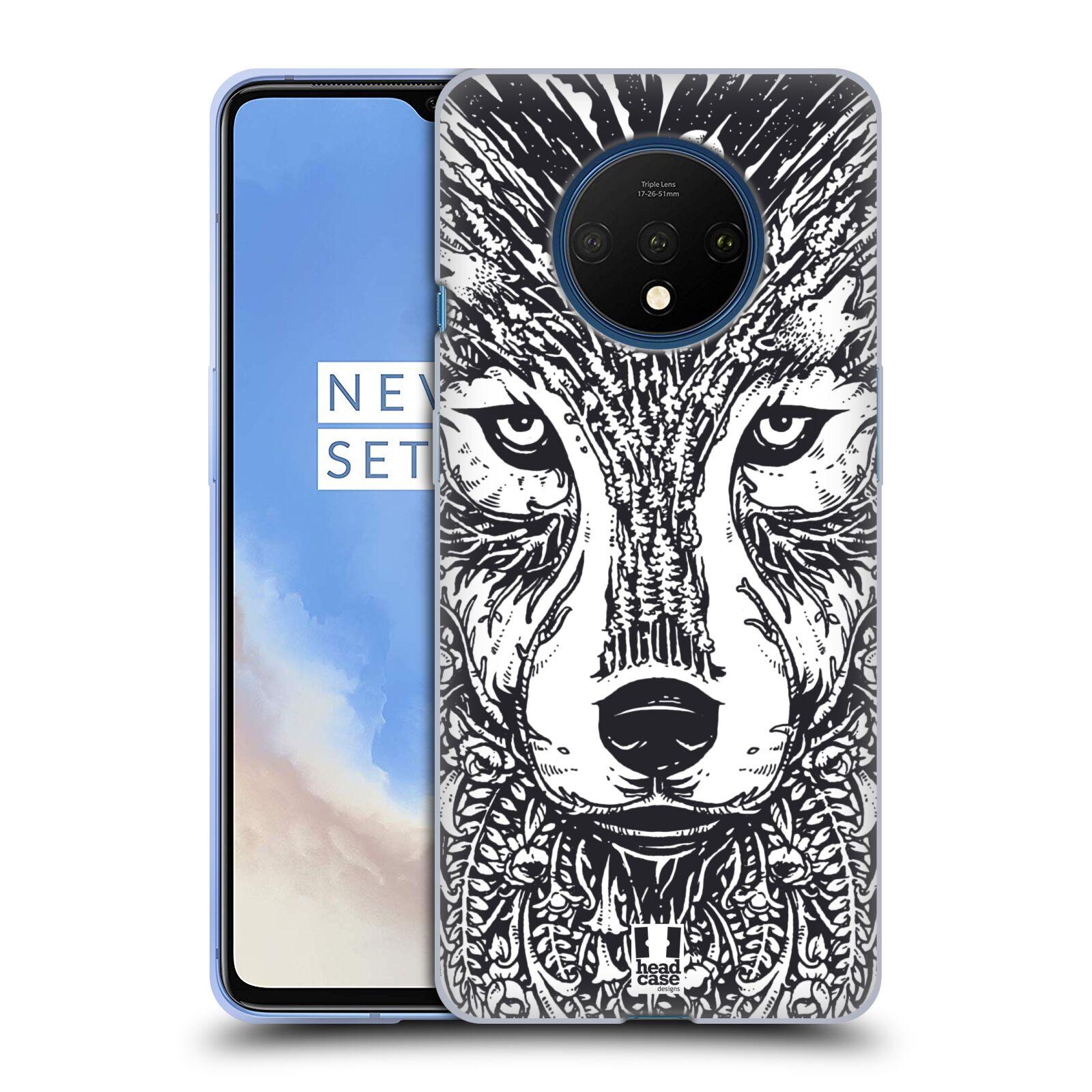 Silikonové pouzdro na mobil OnePlus 7T - Head Case - DOODLE TVÁŘ VLK