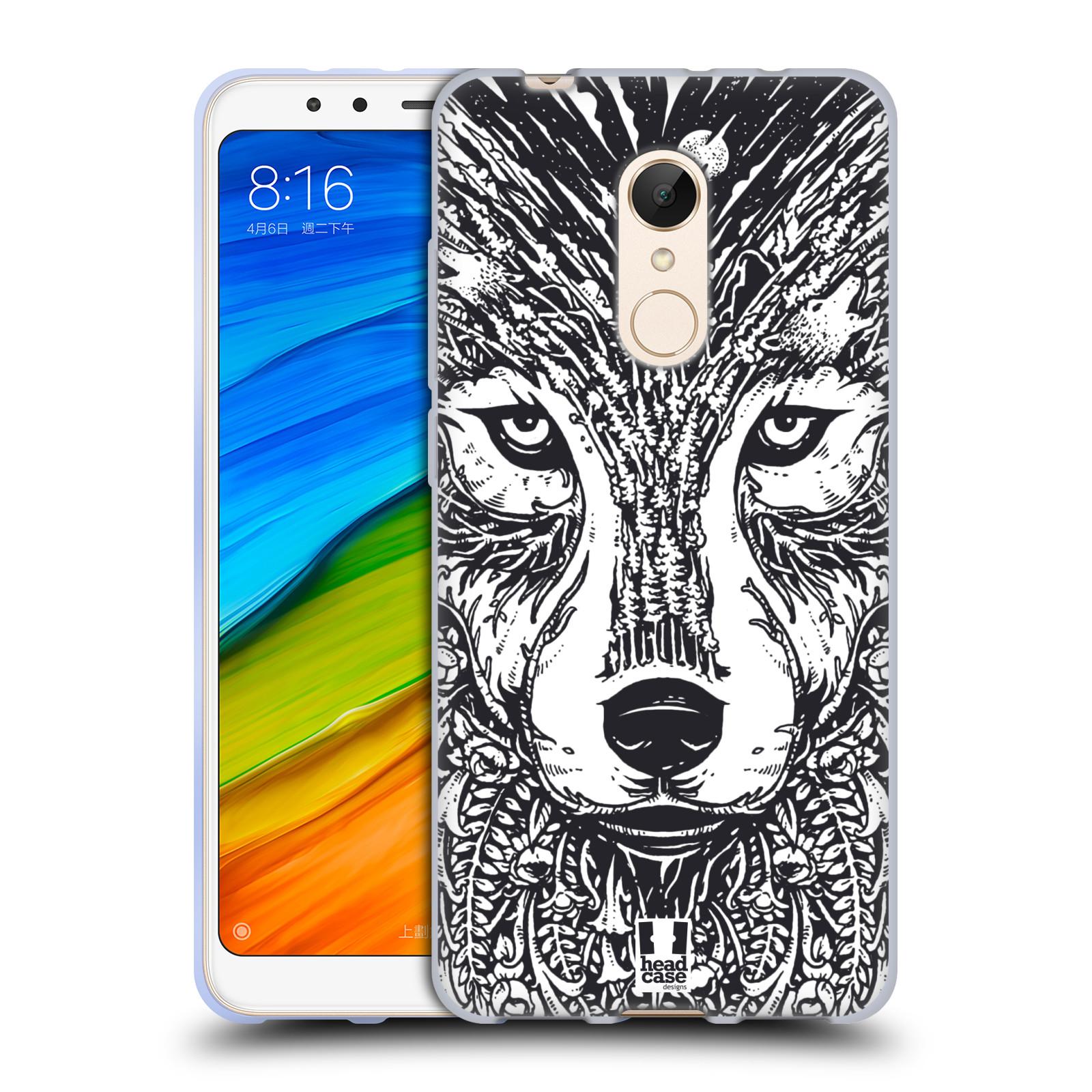 Silikonové pouzdro na mobil Xiaomi Redmi 5 - Head Case - DOODLE TVÁŘ VLK (Silikonový kryt či obal na mobilní telefon Xiaomi Redmi 5 s motivem DOODLE TVÁŘ VLK)