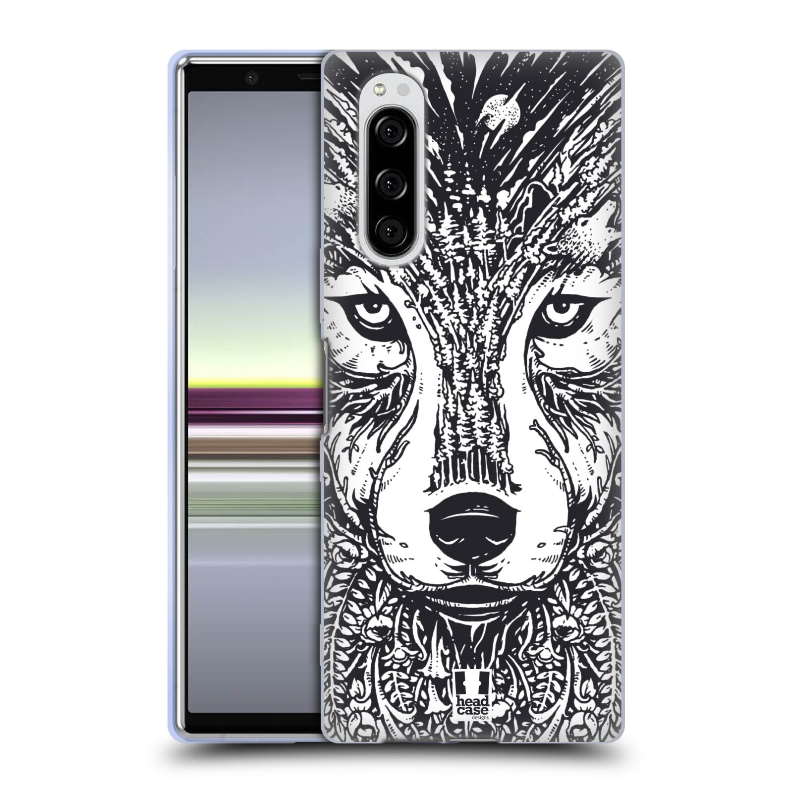 Silikonové pouzdro na mobil Sony Xperia 5 - Head Case - DOODLE TVÁŘ VLK