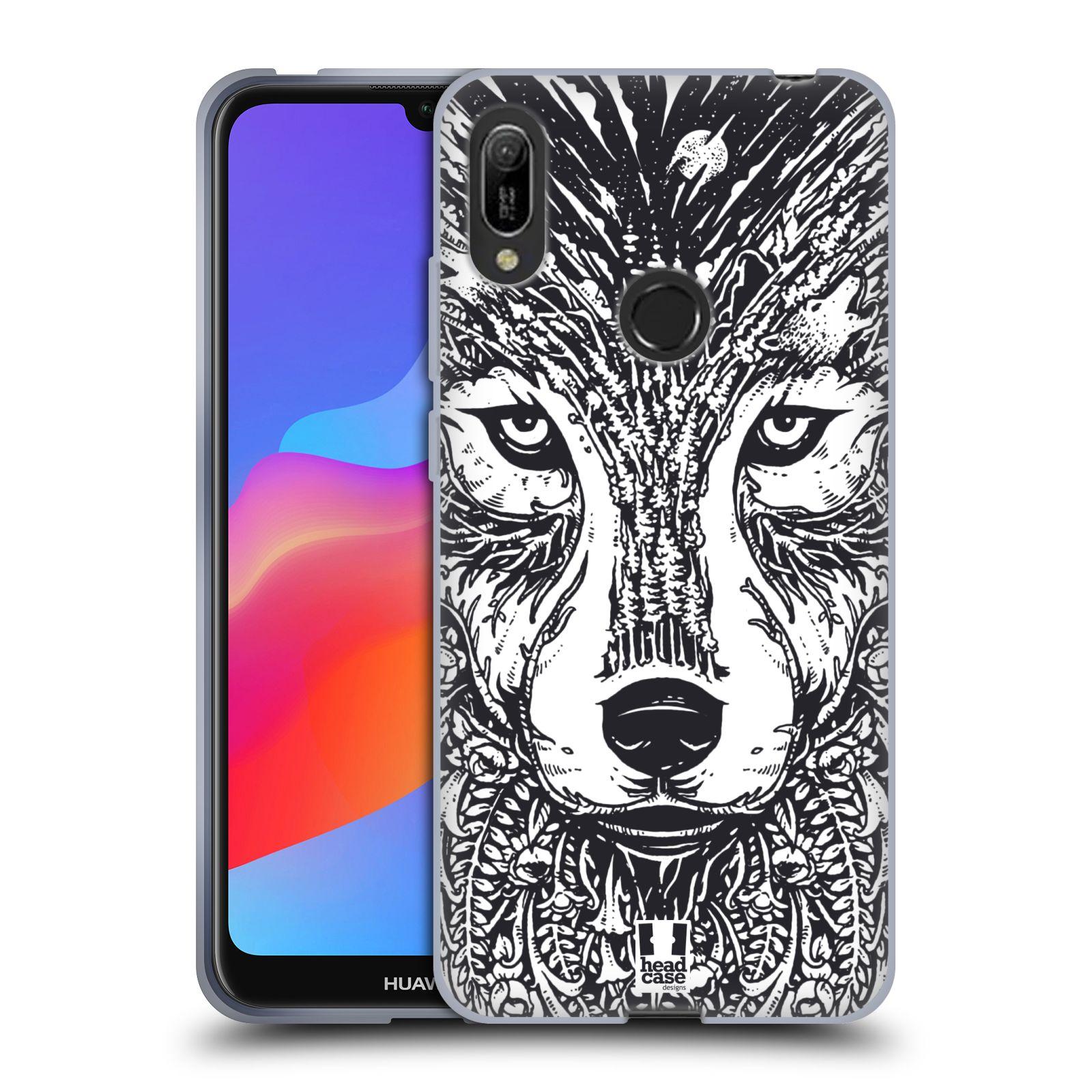 Silikonové pouzdro na mobil Huawei Y6 (2019) - Head Case - DOODLE TVÁŘ VLK