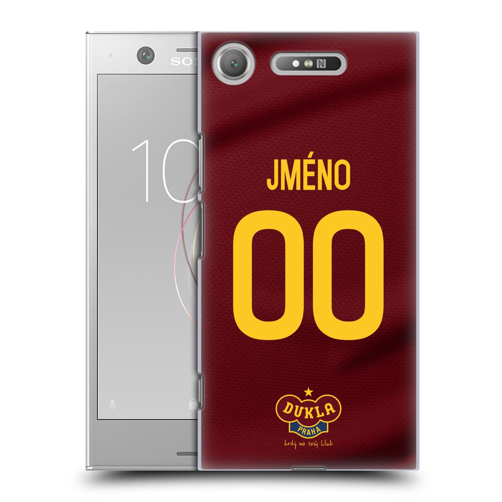 Plastové pouzdro na mobil Sony Xperia XZ1 - FK Dukla Praha - dres s vlastním jménem a číslem