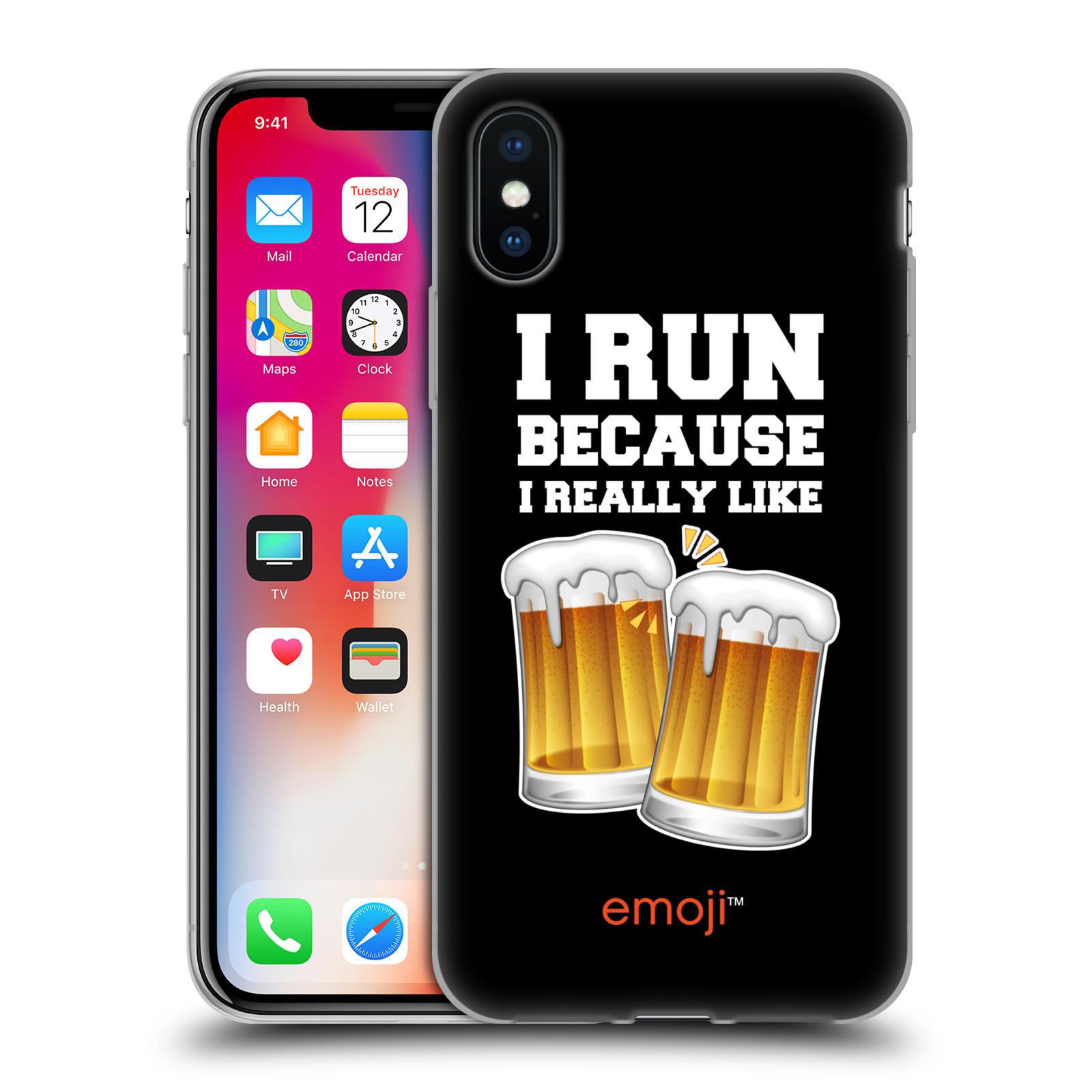 Silikonové pouzdro na mobil Apple iPhone XS - Head Case - EMOJI - Běhám na pivko