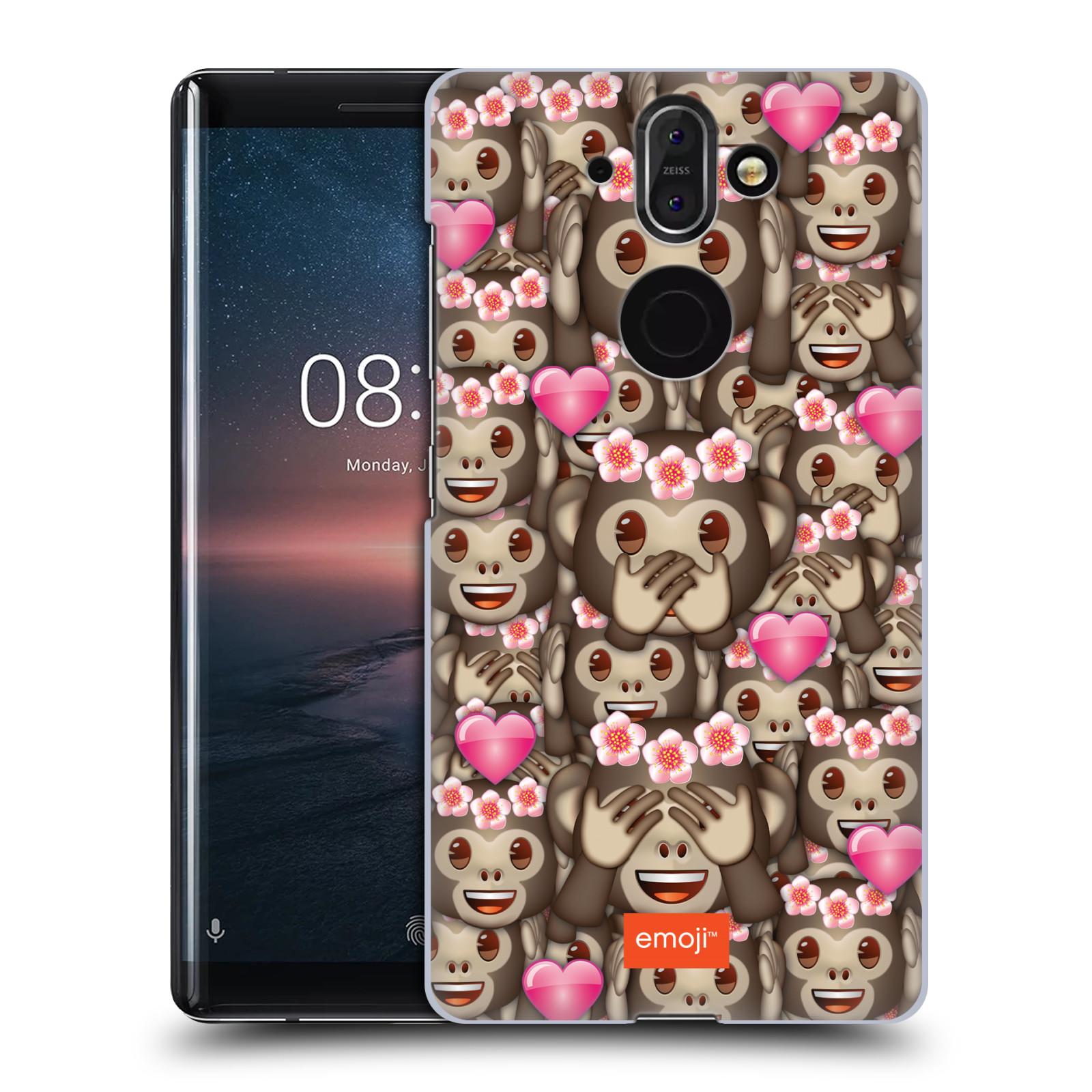 Plastové pouzdro na mobil Nokia 8 Sirocco - Head Case - EMOJI - Opičky, srdíčka a kytičky