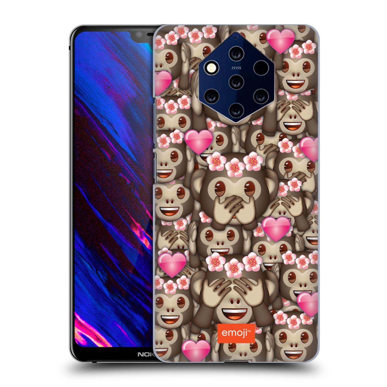 Plastové pouzdro na mobil Nokia 9 PureView - Head Case - EMOJI - Opičky, srdíčka a kytičky