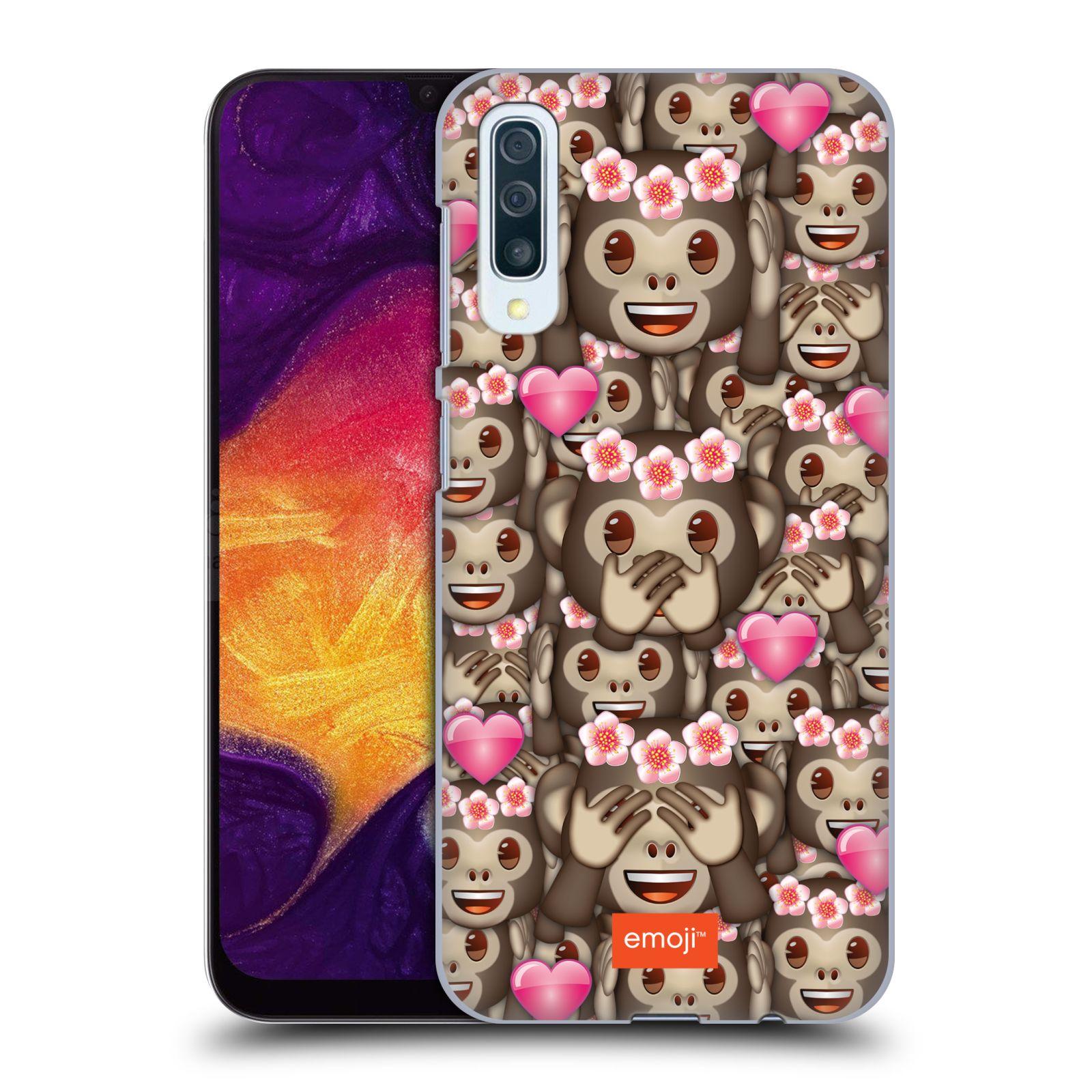 Plastové pouzdro na mobil Samsung Galaxy A50 / A30s - Head Case - EMOJI - Opičky, srdíčka a kytičky