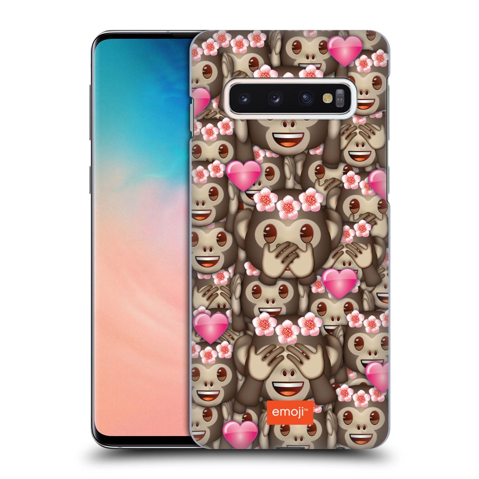 Plastové pouzdro na mobil Samsung Galaxy S10 - Head Case - EMOJI - Opičky, srdíčka a kytičky