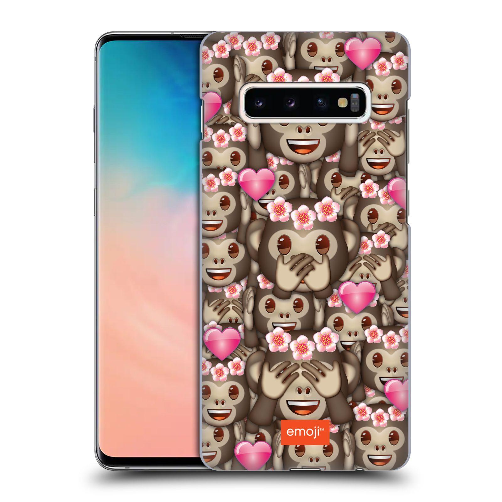 Plastové pouzdro na mobil Samsung Galaxy S10 Plus - Head Case - EMOJI - Opičky, srdíčka a kytičky