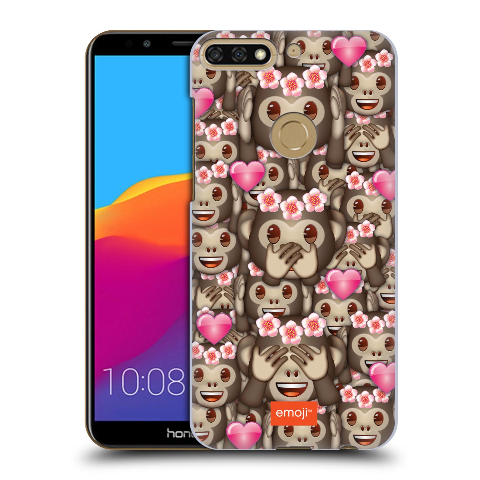 Plastové pouzdro na mobil Huawei Y7 Prime 2018 - Head Case - EMOJI - Opičky, srdíčka a kytičky