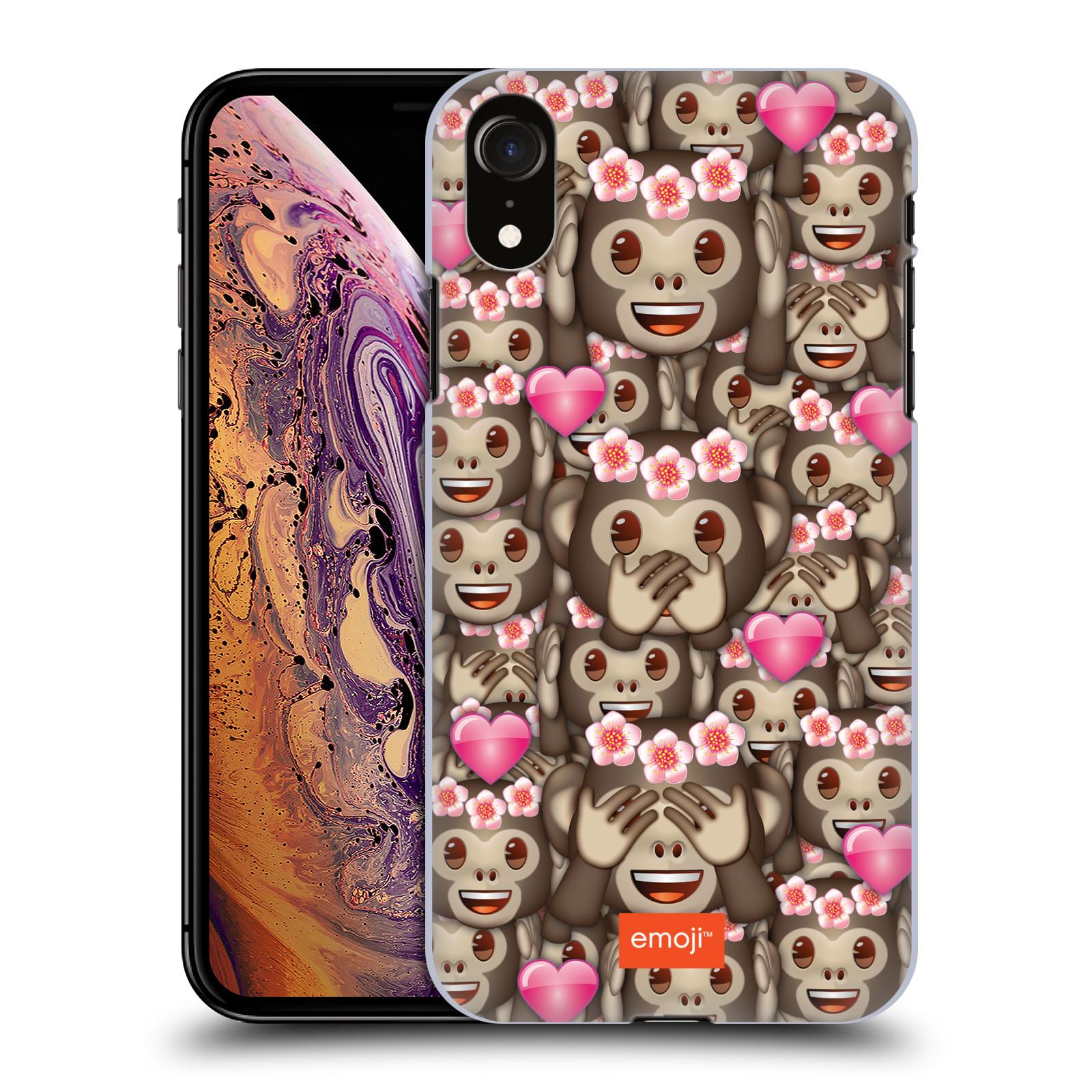 Plastové pouzdro na mobil Apple iPhone XR - Head Case - EMOJI - Opičky, srdíčka a kytičky