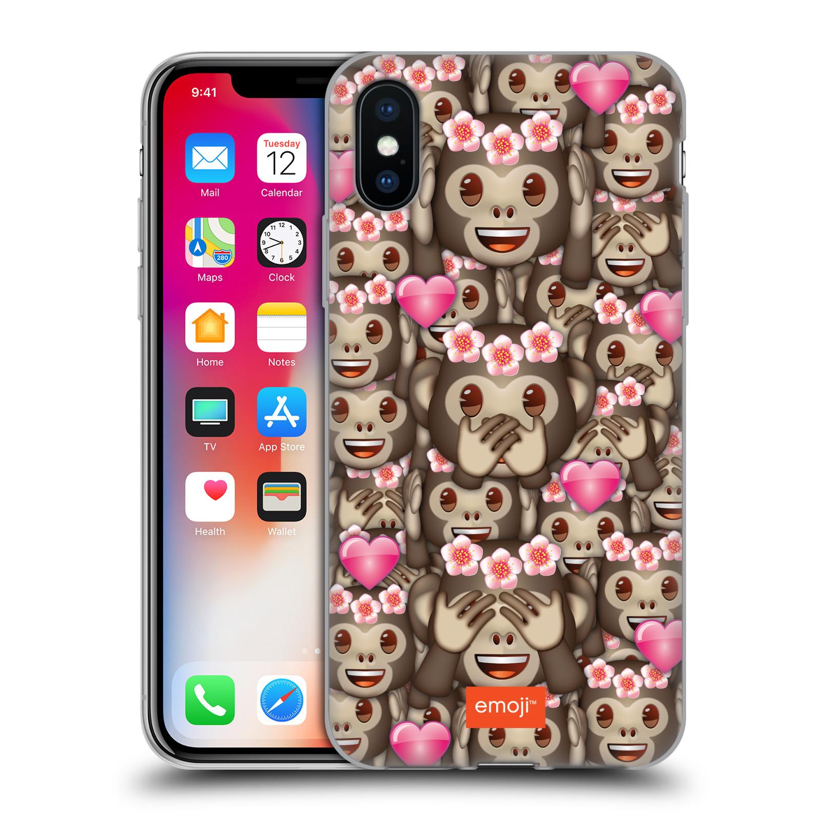 Silikonové pouzdro na mobil Apple iPhone XS - Head Case - EMOJI - Opičky, srdíčka a kytičky