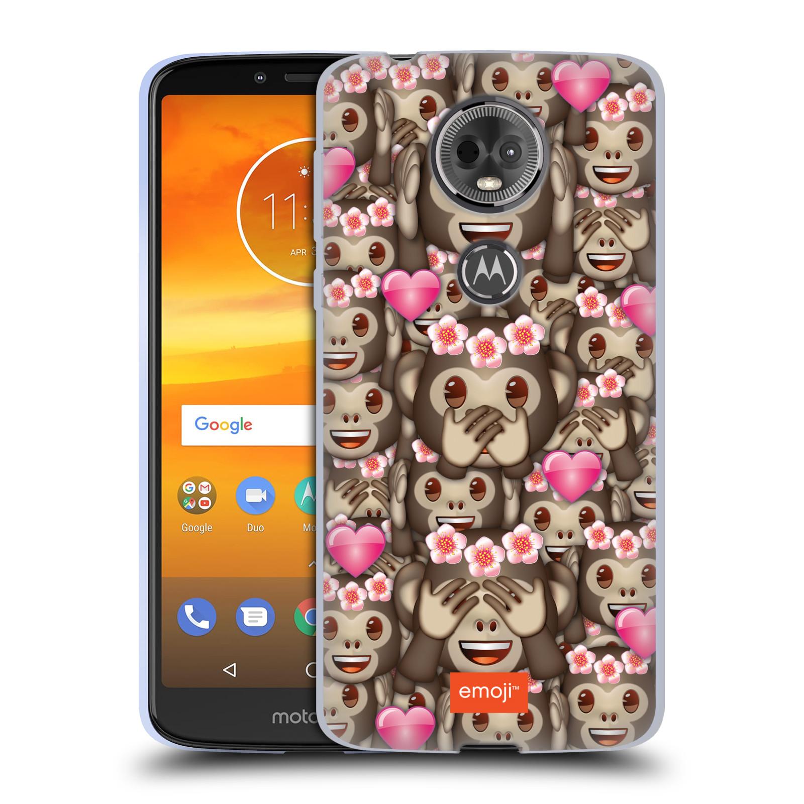 Silikonové pouzdro na mobil Motorola Moto E5 Plus - Head Case - EMOJI - Opičky, srdíčka a kytičky