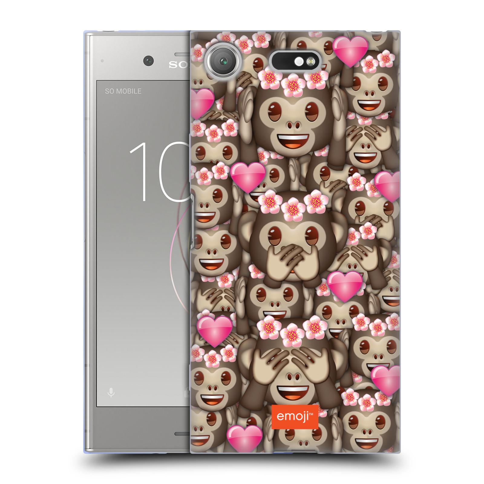 Silikonové pouzdro na mobil Sony Xperia XZ1 Compact - Head Case - EMOJI - Opičky, srdíčka a kytičky