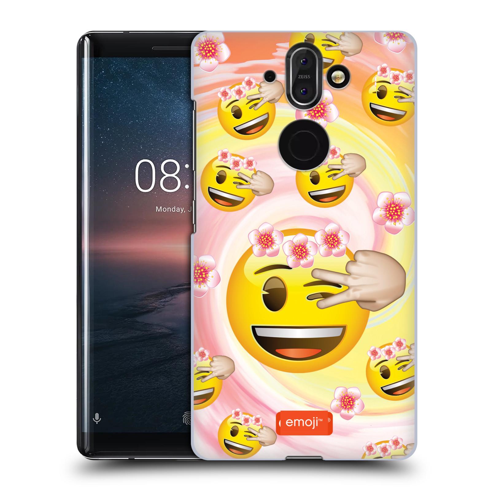 Plastové pouzdro na mobil Nokia 8 Sirocco - Head Case - EMOJI - Mrkající smajlíci a kytičky