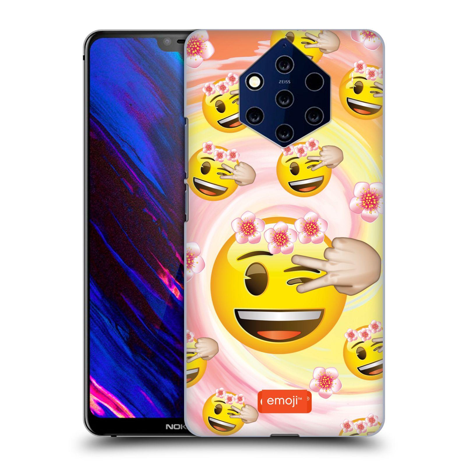 Plastové pouzdro na mobil Nokia 9 PureView - Head Case - EMOJI - Mrkající smajlíci a kytičky