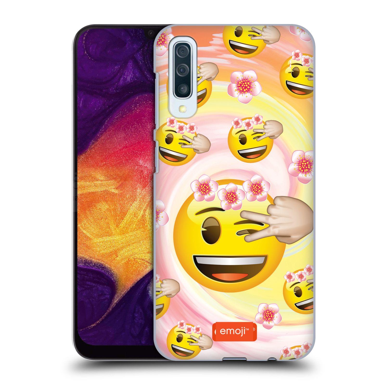 Plastové pouzdro na mobil Samsung Galaxy A50 / A30s - Head Case - EMOJI - Mrkající smajlíci a kytičky
