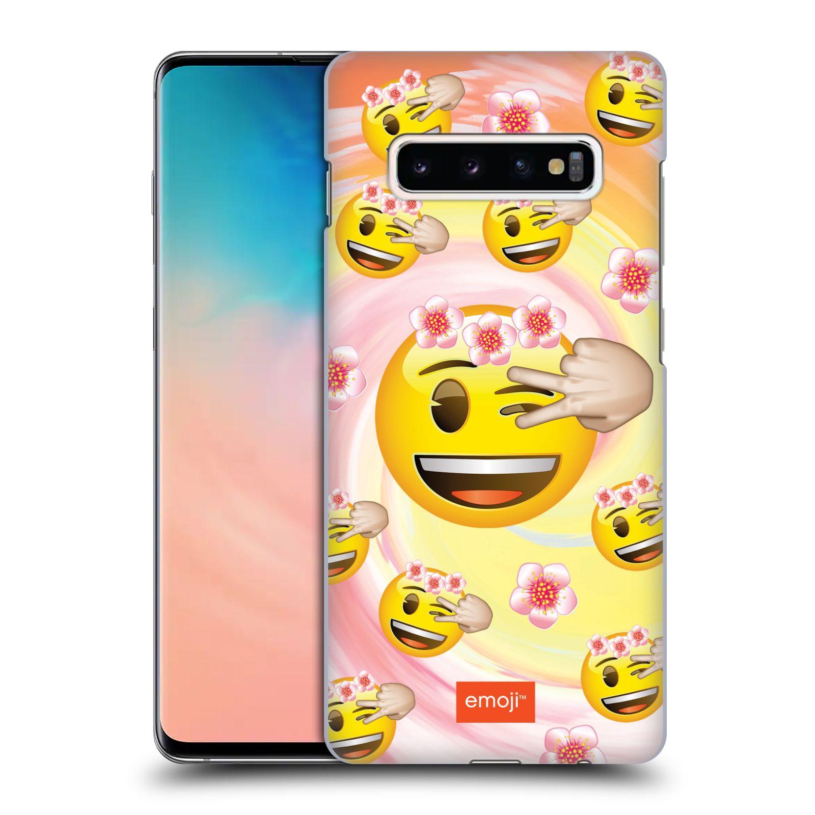 Plastové pouzdro na mobil Samsung Galaxy S10 Plus - Head Case - EMOJI - Mrkající smajlíci a kytičky