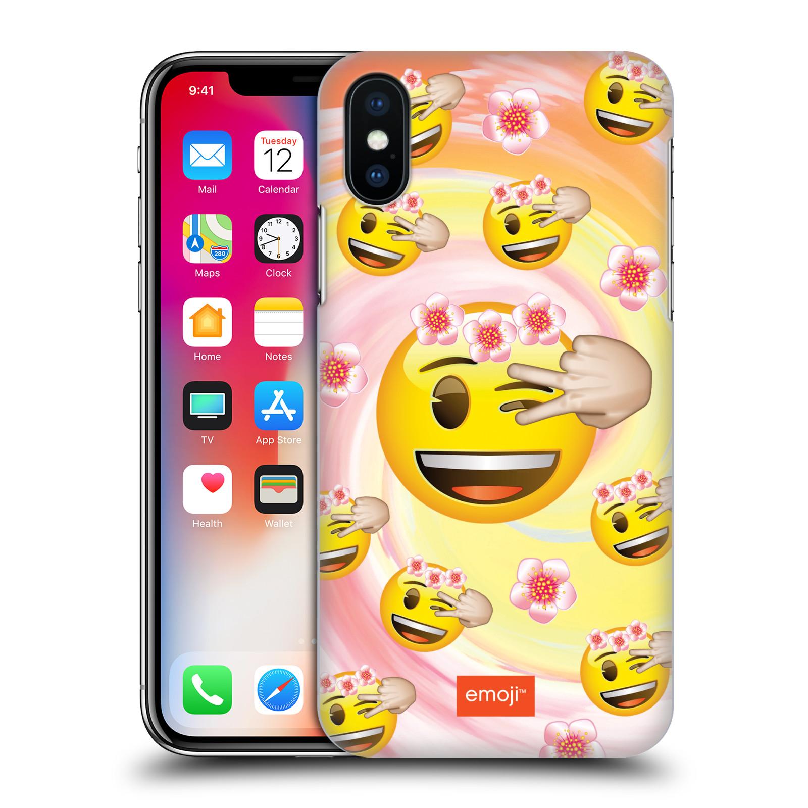 Plastové pouzdro na mobil Apple iPhone X - Head Case - EMOJI - Mrkající smajlíci a kytičky
