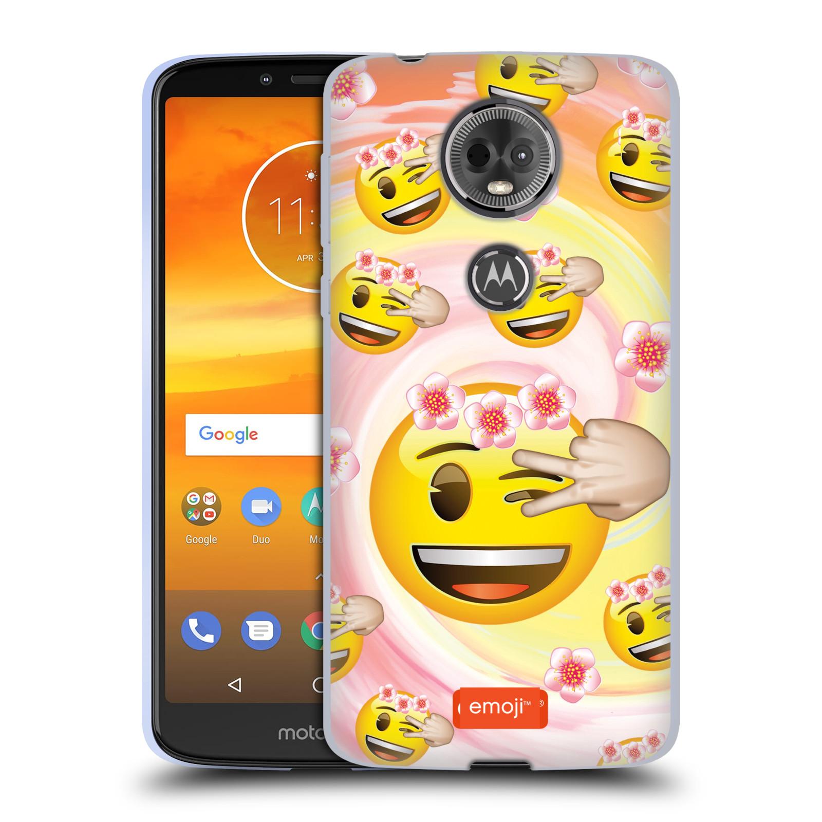 Silikonové pouzdro na mobil Motorola Moto E5 Plus - Head Case - EMOJI - Mrkající smajlíci a kytičky