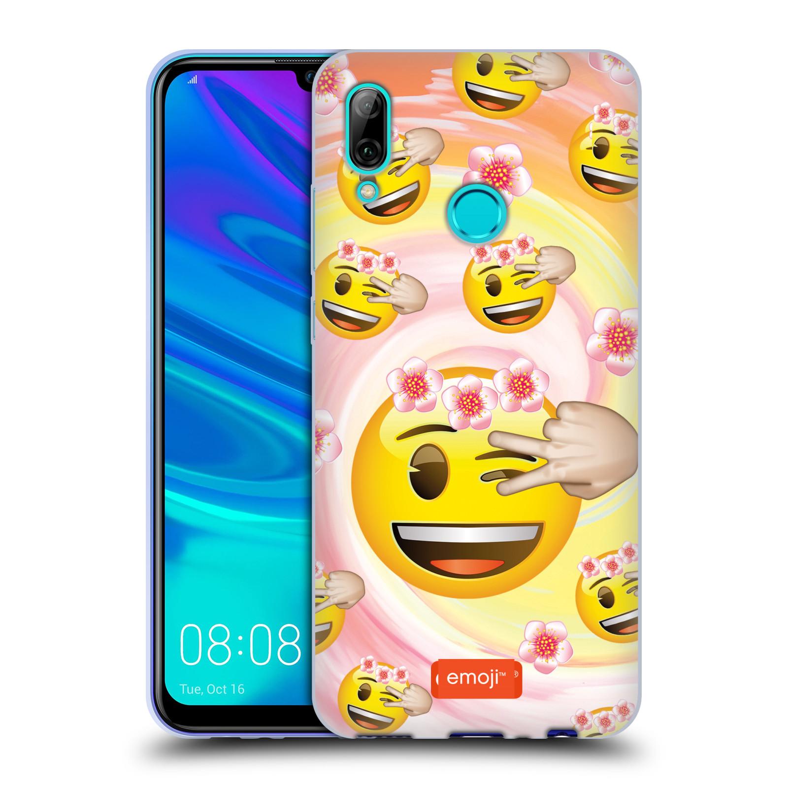 Silikonové pouzdro na mobil Huawei P Smart (2019) - Head Case - EMOJI - Mrkající smajlíci a kytičky