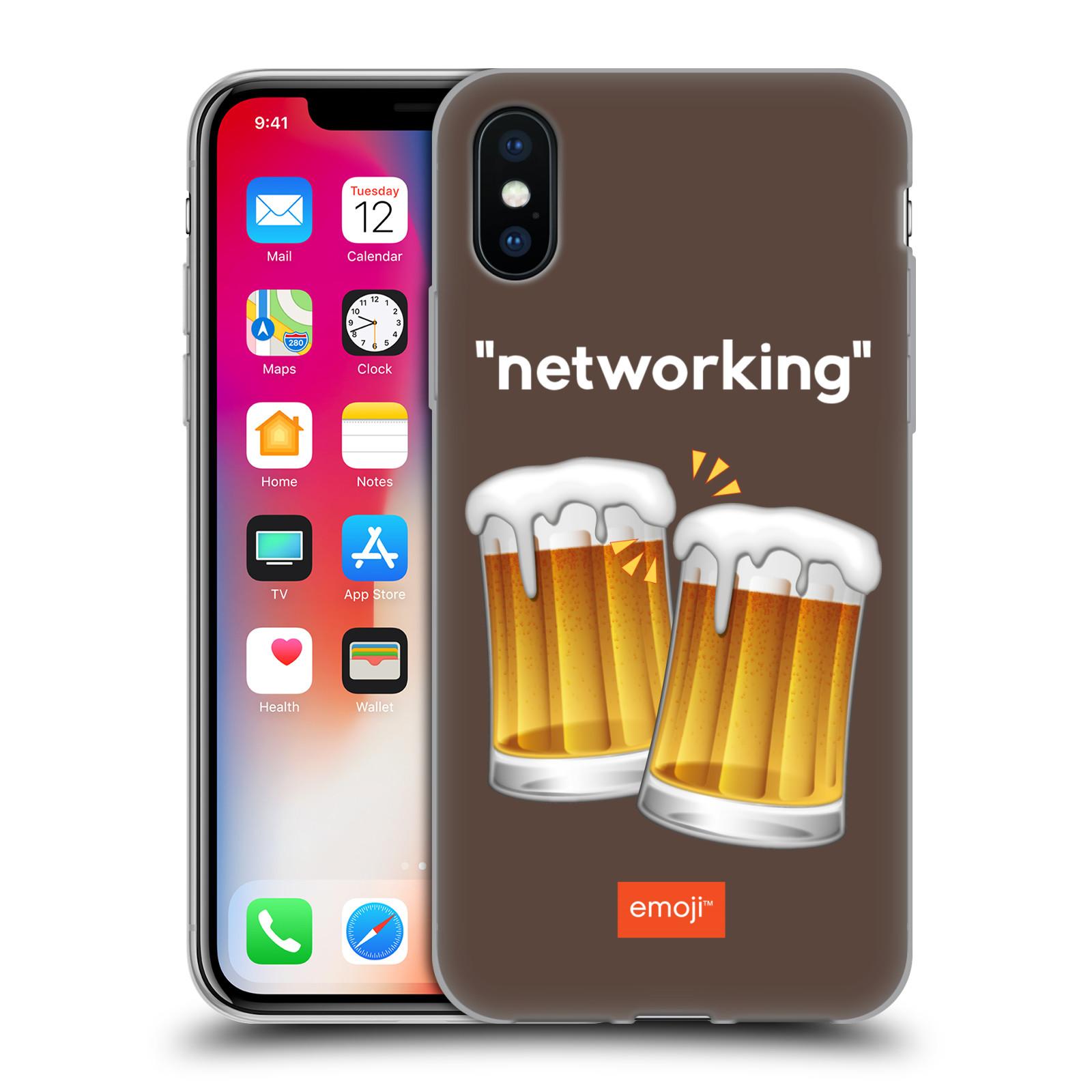 Silikonové pouzdro na mobil Apple iPhone XS - Head Case - EMOJI - Pivní networking
