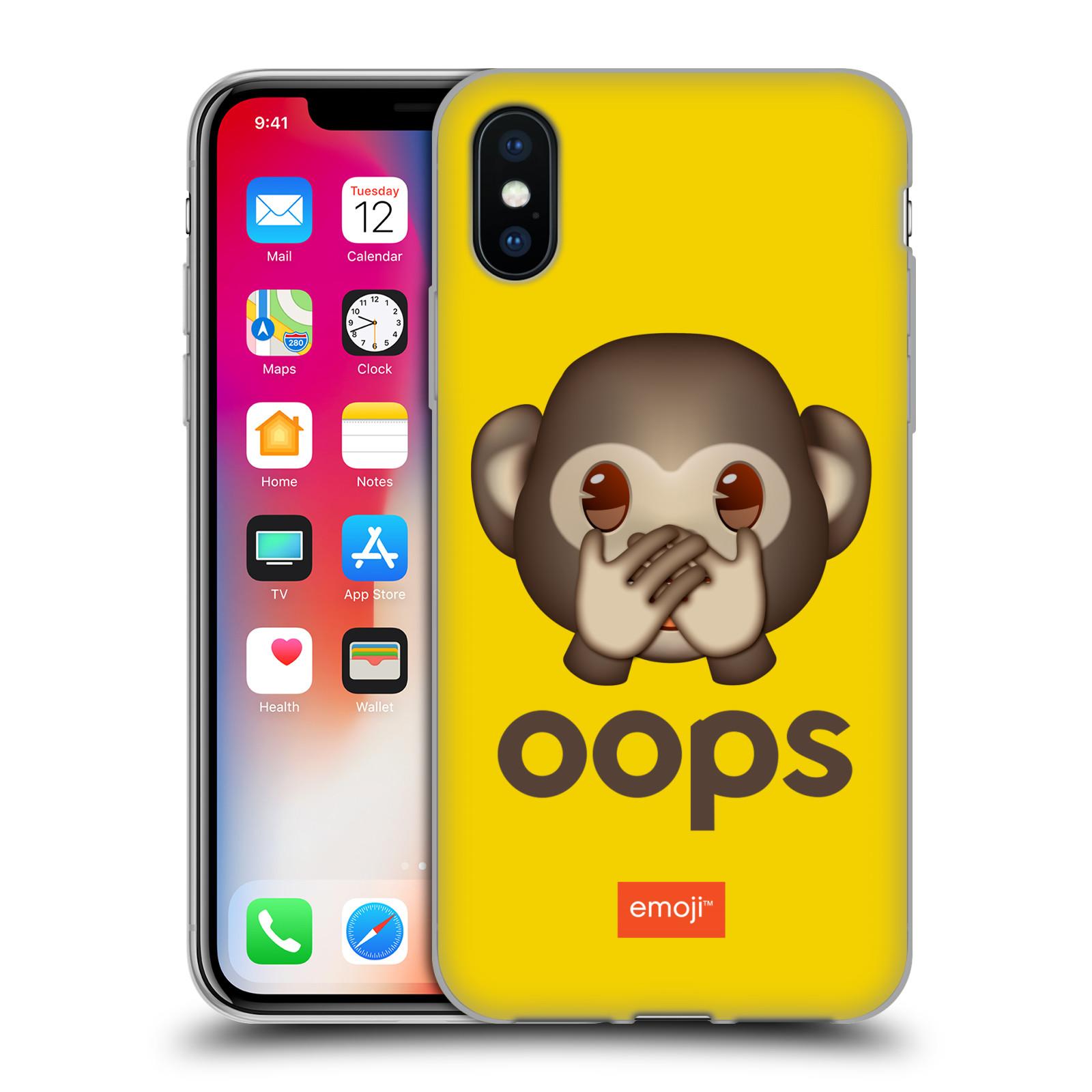Silikonové pouzdro na mobil Apple iPhone XS - Head Case - EMOJI - Opička OOPS