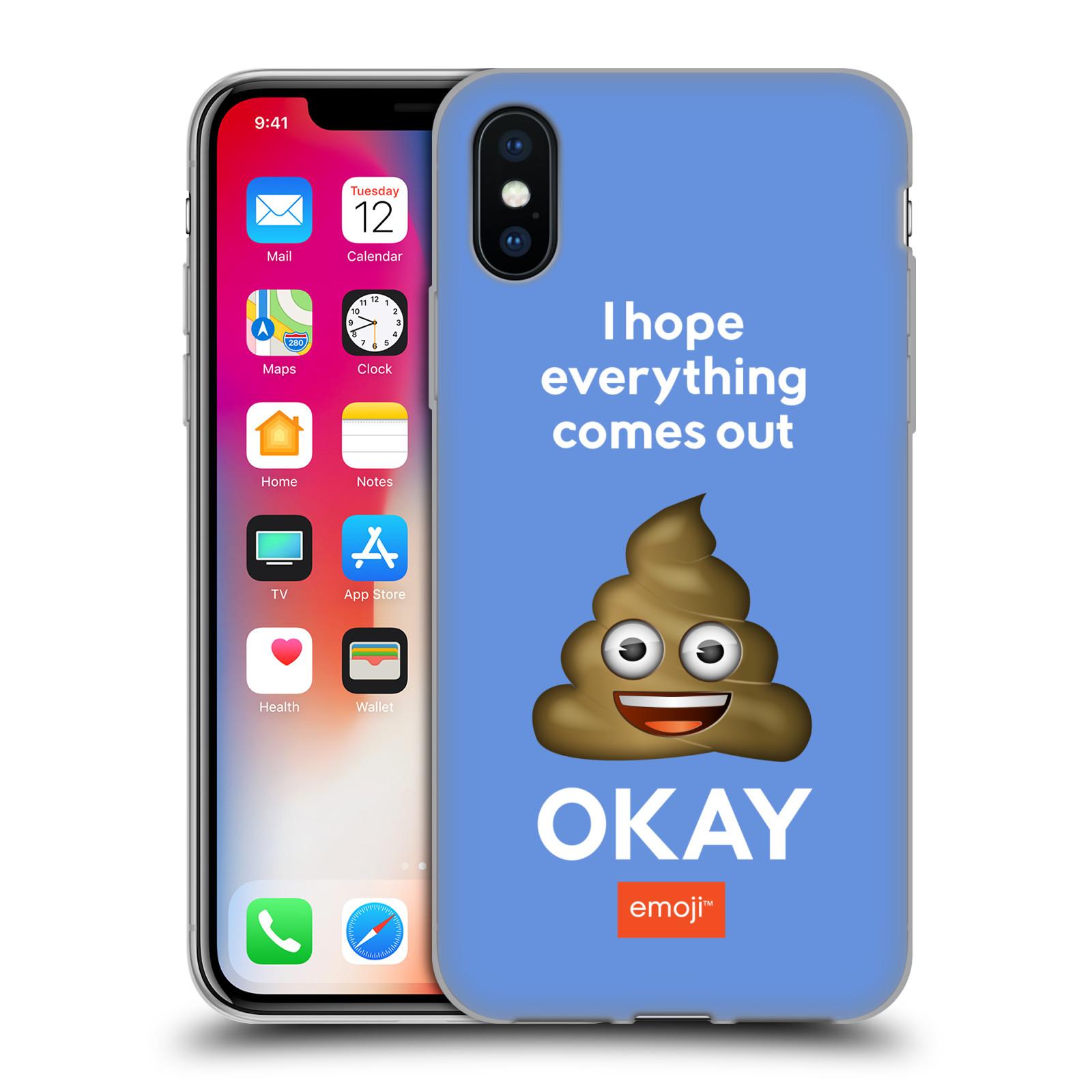 Silikonové pouzdro na mobil Apple iPhone XS - Head Case - EMOJI - Hovínko OKAY