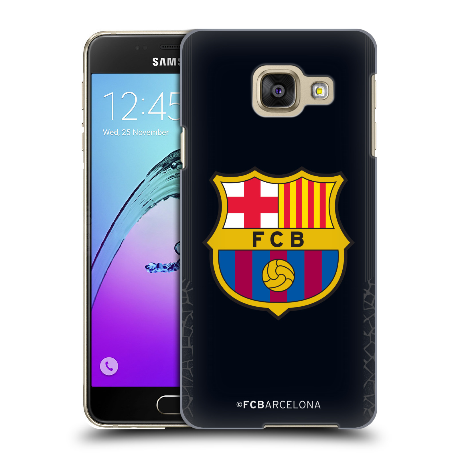Plastové pouzdro na mobil Samsung Galaxy A3 (2016) - Head Case - FC Barcelona - Goalkeeper black logo