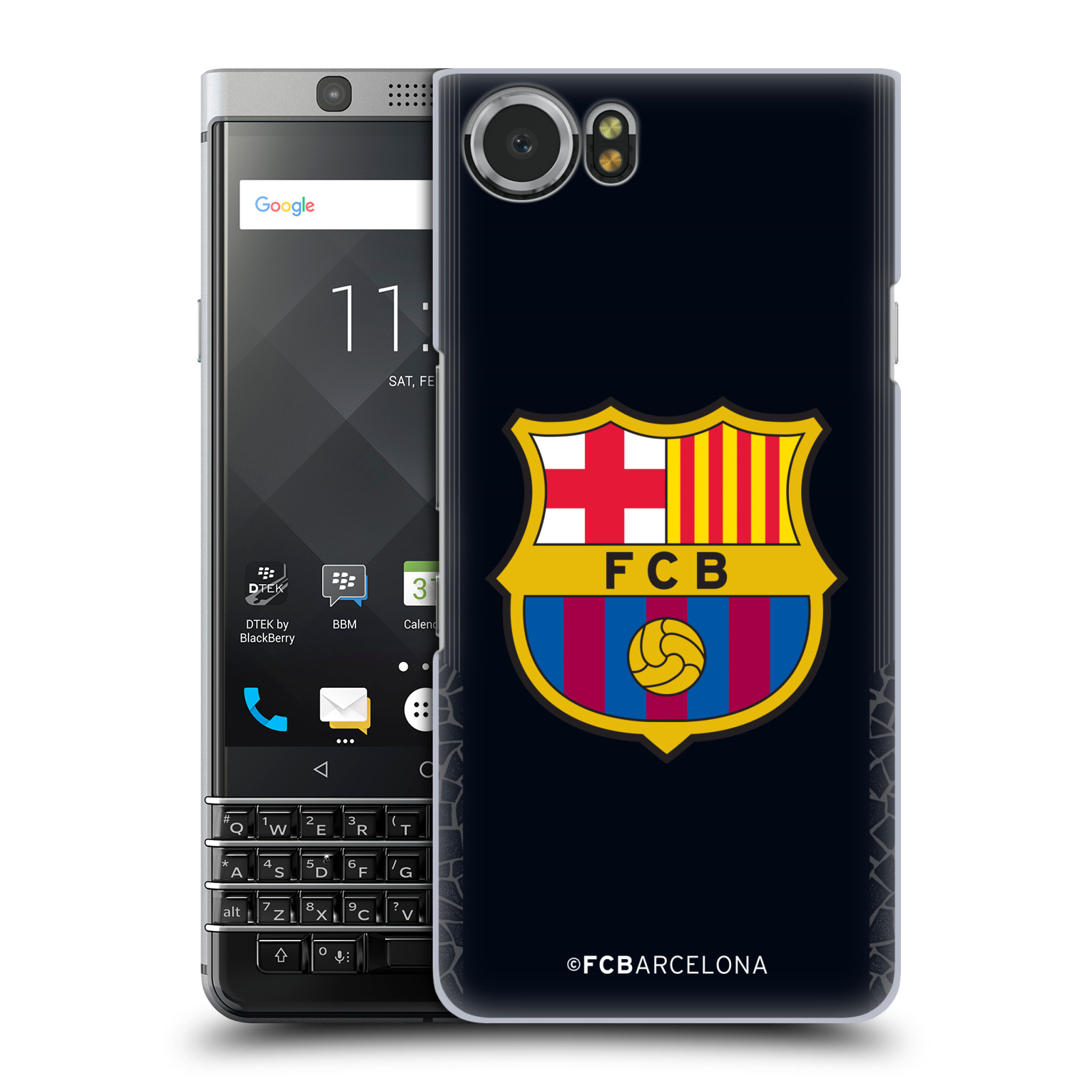 Plastové pouzdro na mobil BlackBerry KEYone - Head Case - FC Barcelona - Goalkeeper black logo