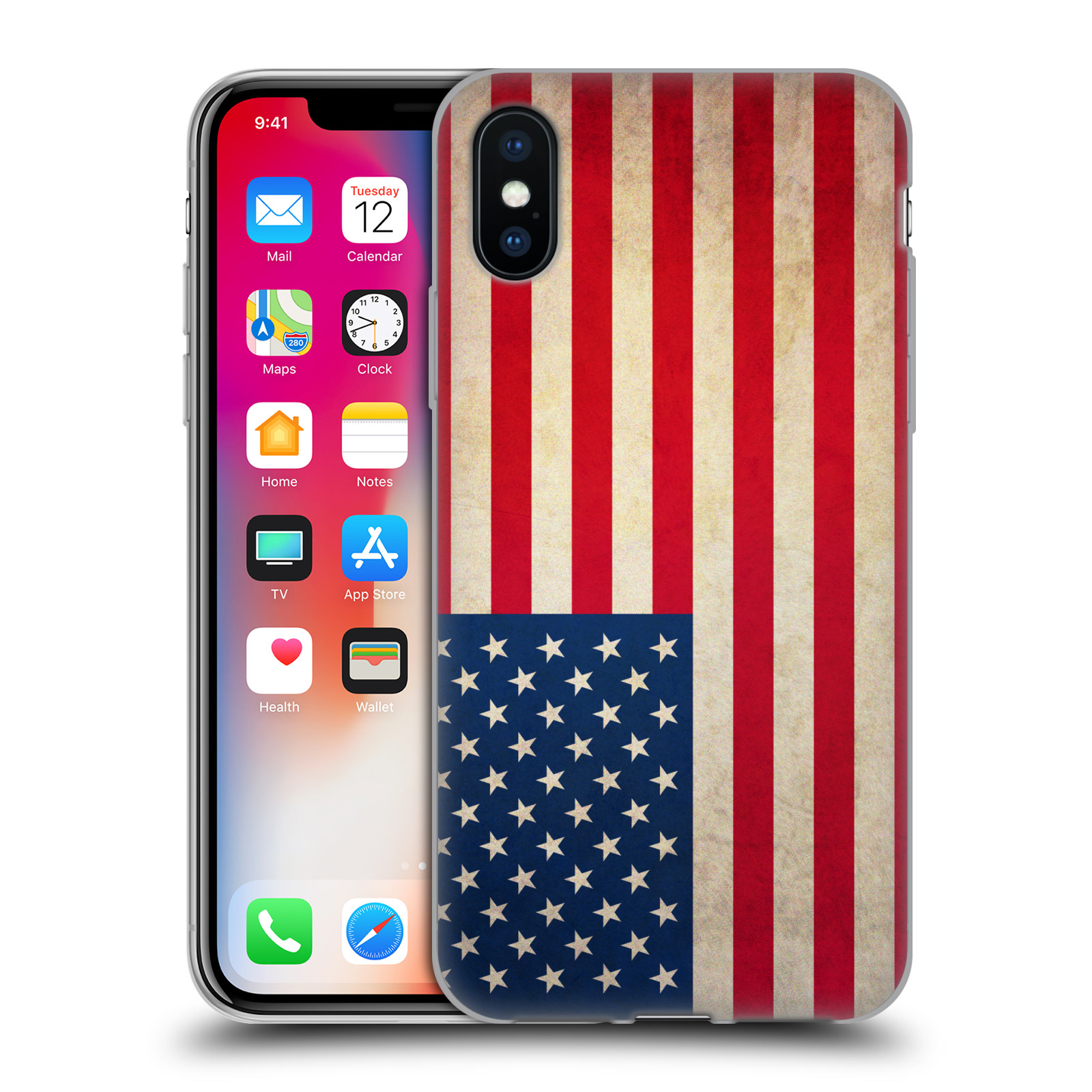 Silikonové pouzdro na mobil Apple iPhone XS - Head Case - VLAJKA USA