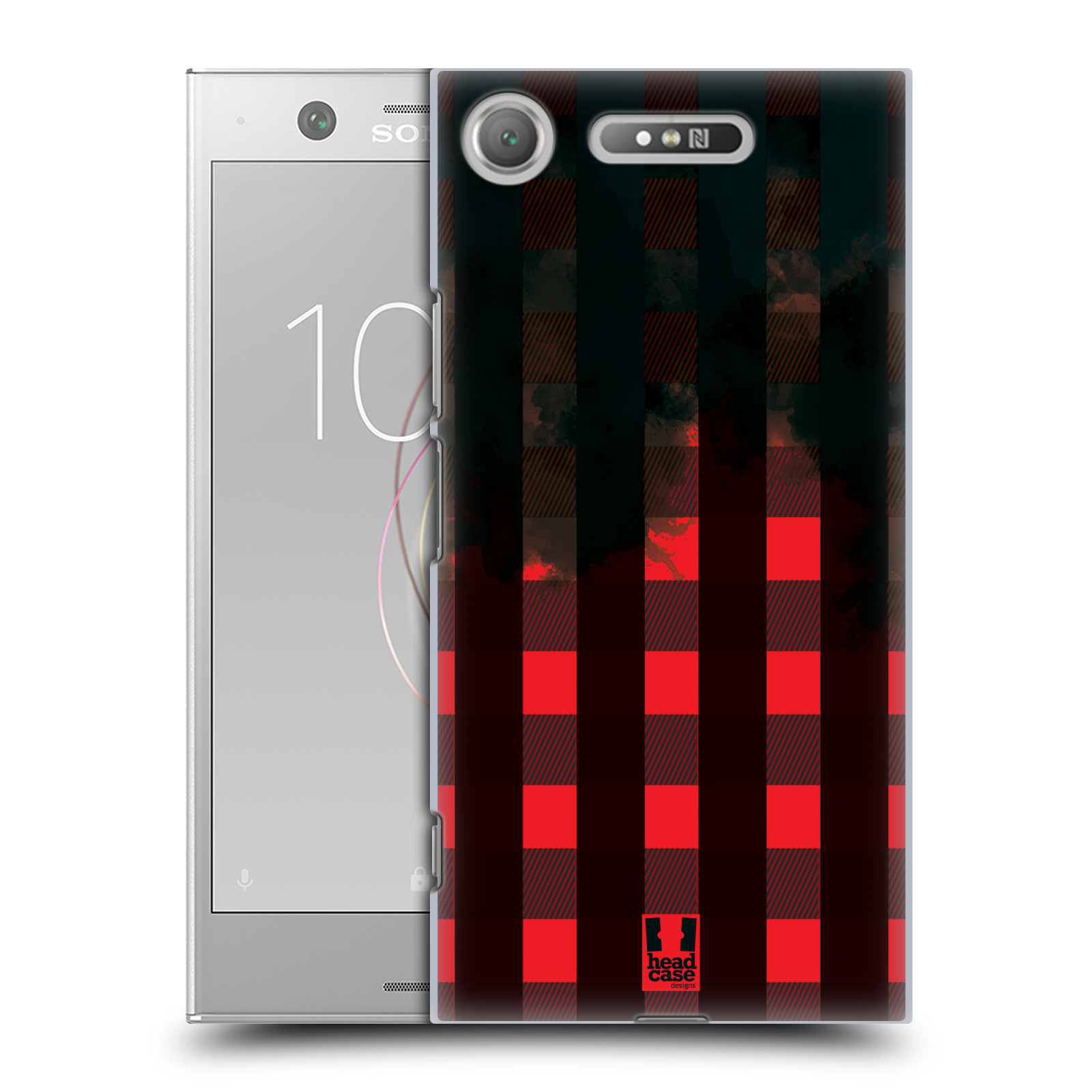 Plastové pouzdro na mobil Sony Xperia XZ1 - Head Case - FLANEL RED BLACK (Plastový kryt či obal na mobilní telefon Sony Xperia XZ1 (G8342 Dual Sim / G8341 Single Sim) s motivem FLANEL RED BLACK)