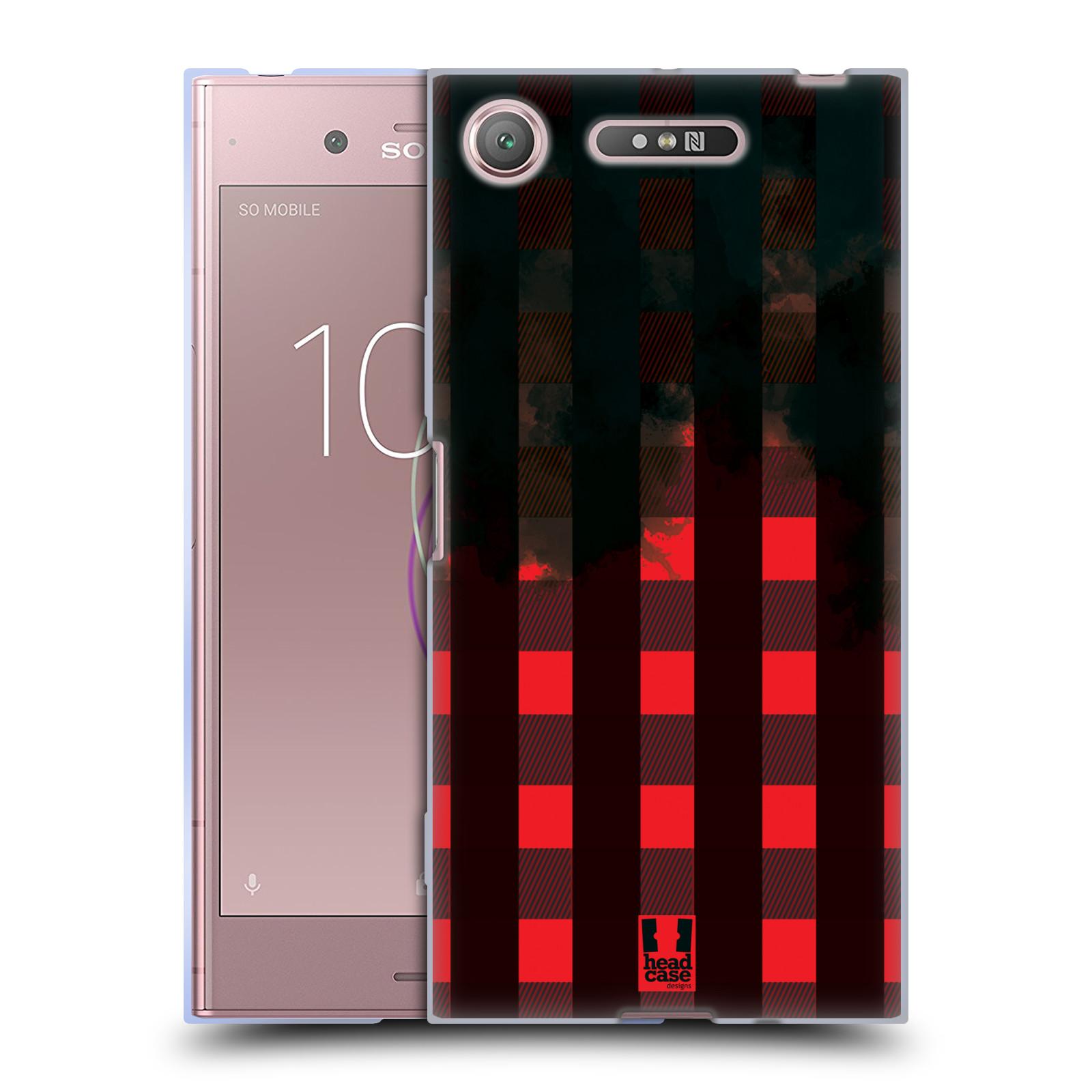 Silikonové pouzdro na mobil Sony Xperia XZ1 - Head Case - FLANEL RED BLACK (Silikonový kryt či obal na mobilní telefon Sony Xperia XZ1 (G8342 Dual Sim / G8341 Single Sim) s motivem FLANEL RED BLACK)