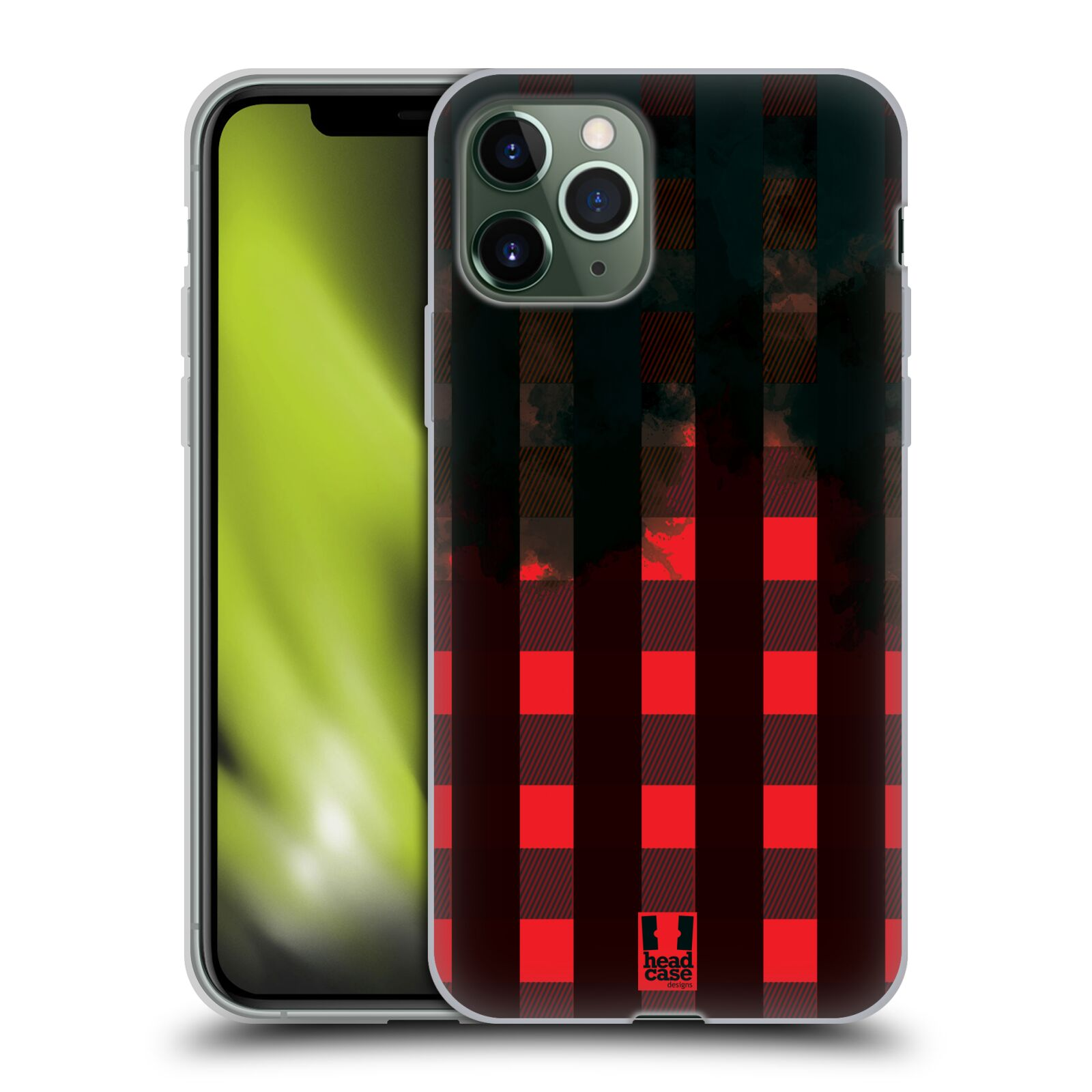 dreveny kryt iphone x - Silikonové pouzdro na mobil Apple iPhone 11 Pro - Head Case - FLANEL RED BLACK