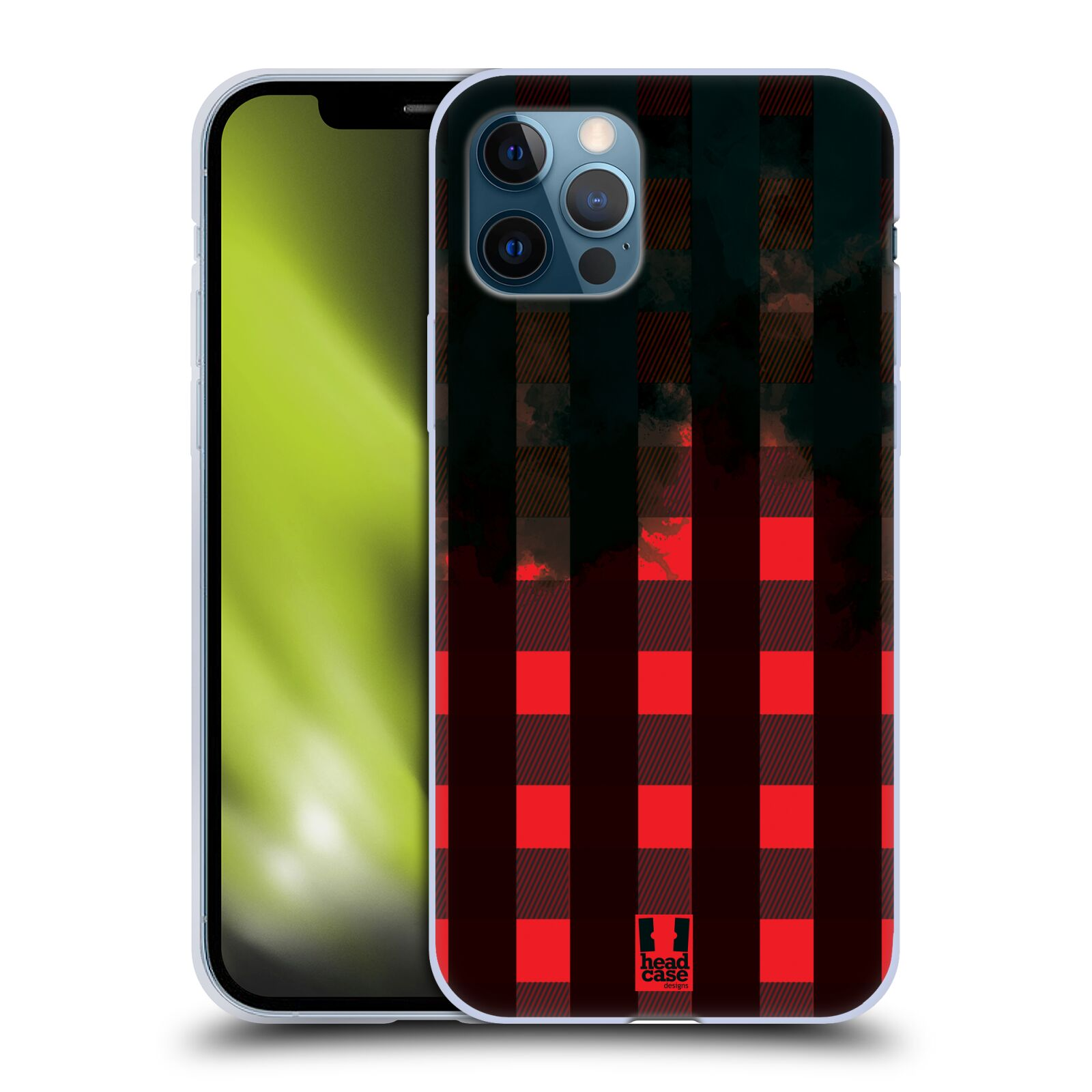 Silikonové pouzdro na mobil Apple iPhone 12 / 12 Pro - Head Case - FLANEL RED BLACK