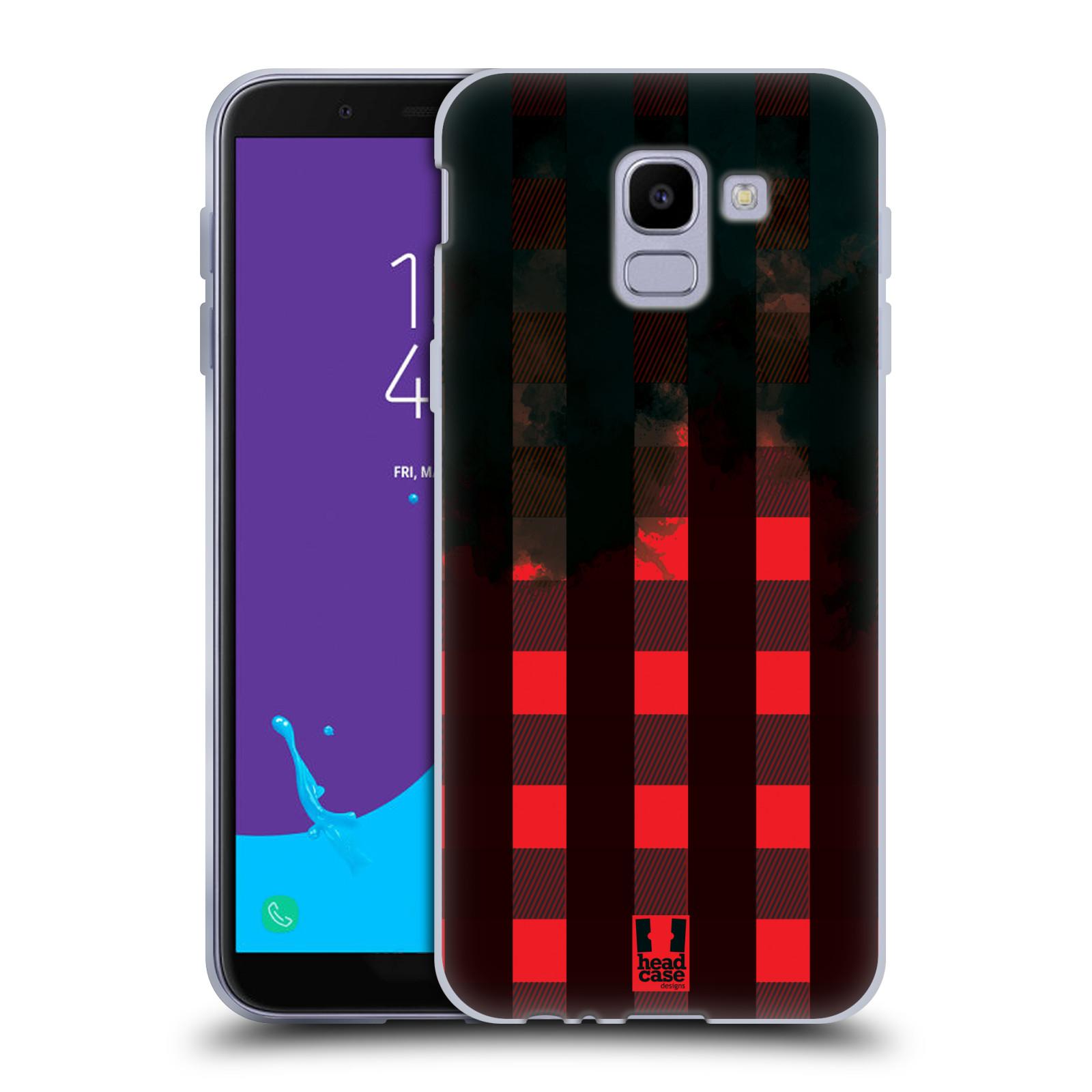 Silikonové pouzdro na mobil Samsung Galaxy J6 (2018) - Head Case - FLANEL RED BLACK