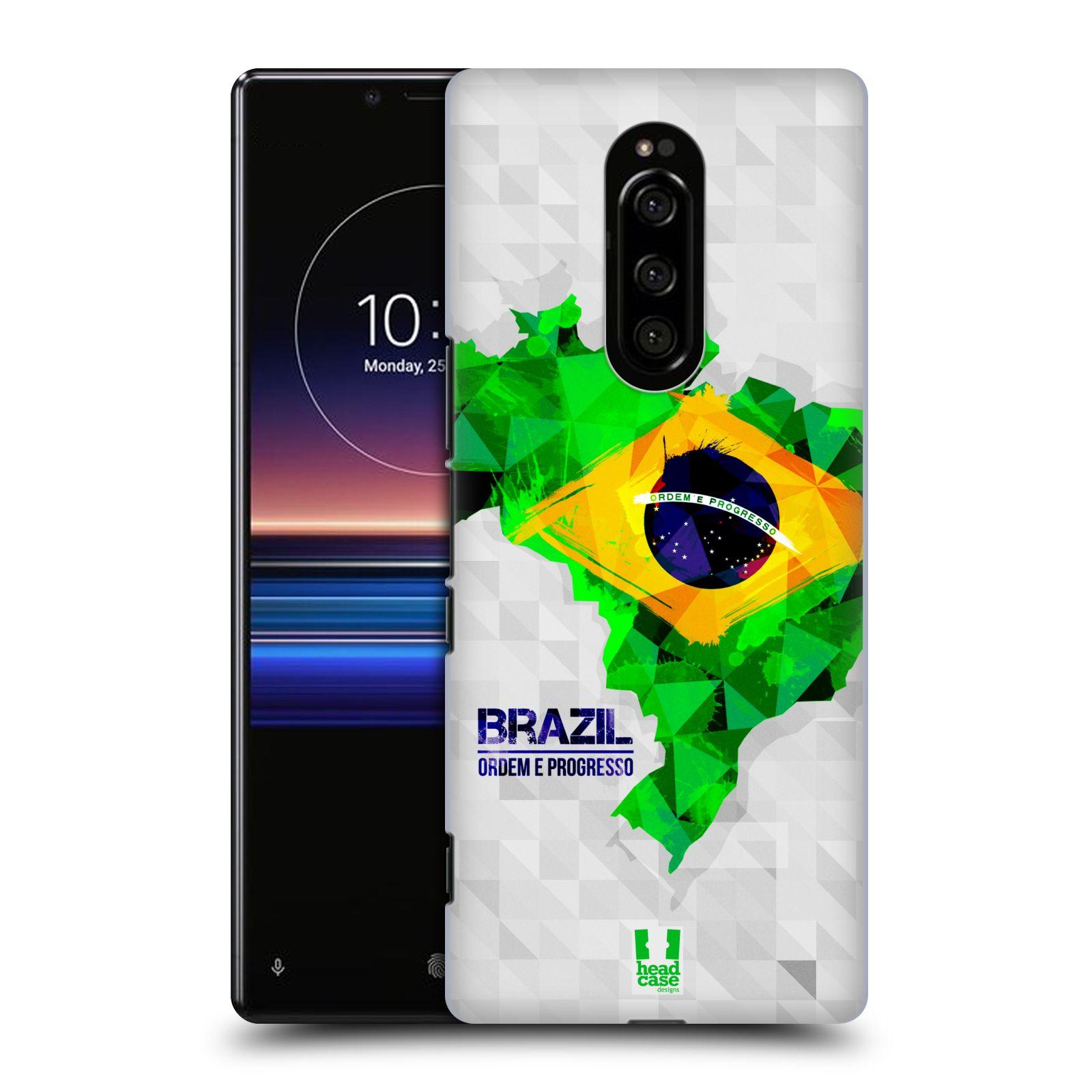 Plastové pouzdro na mobil Sony Xperia 1 - Head Case - GEOMAPA BRAZÍLIE (Plastový kryt, pouzdro, obal na mobilní telefon Sony Xperia 1 (Sony Xperia XZ4) s motivem GEOMAPA BRAZÍLIE)