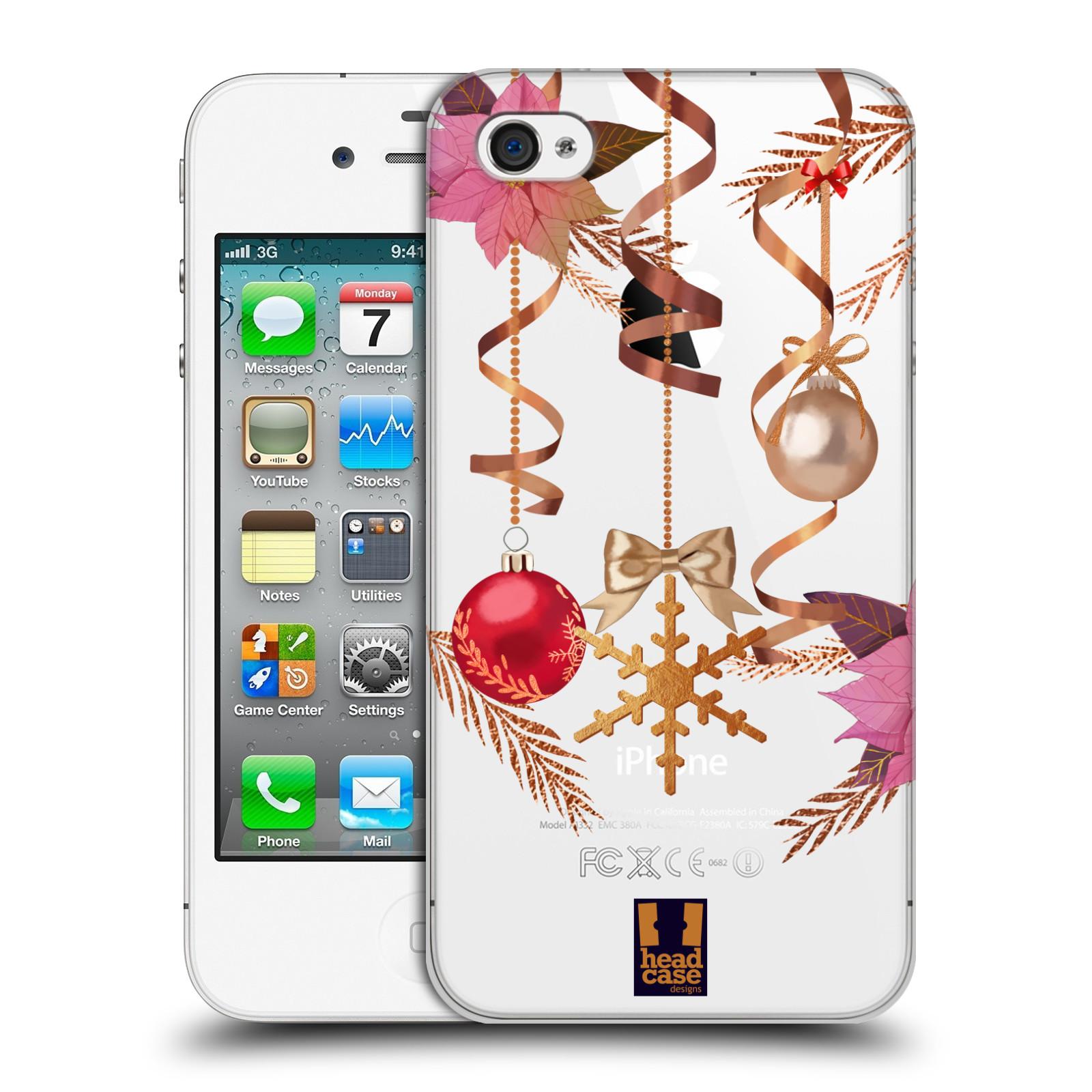 Plastové pouzdro na mobil Apple iPhone 4 a 4S - Head Case - Vločka a vánoční ozdoby