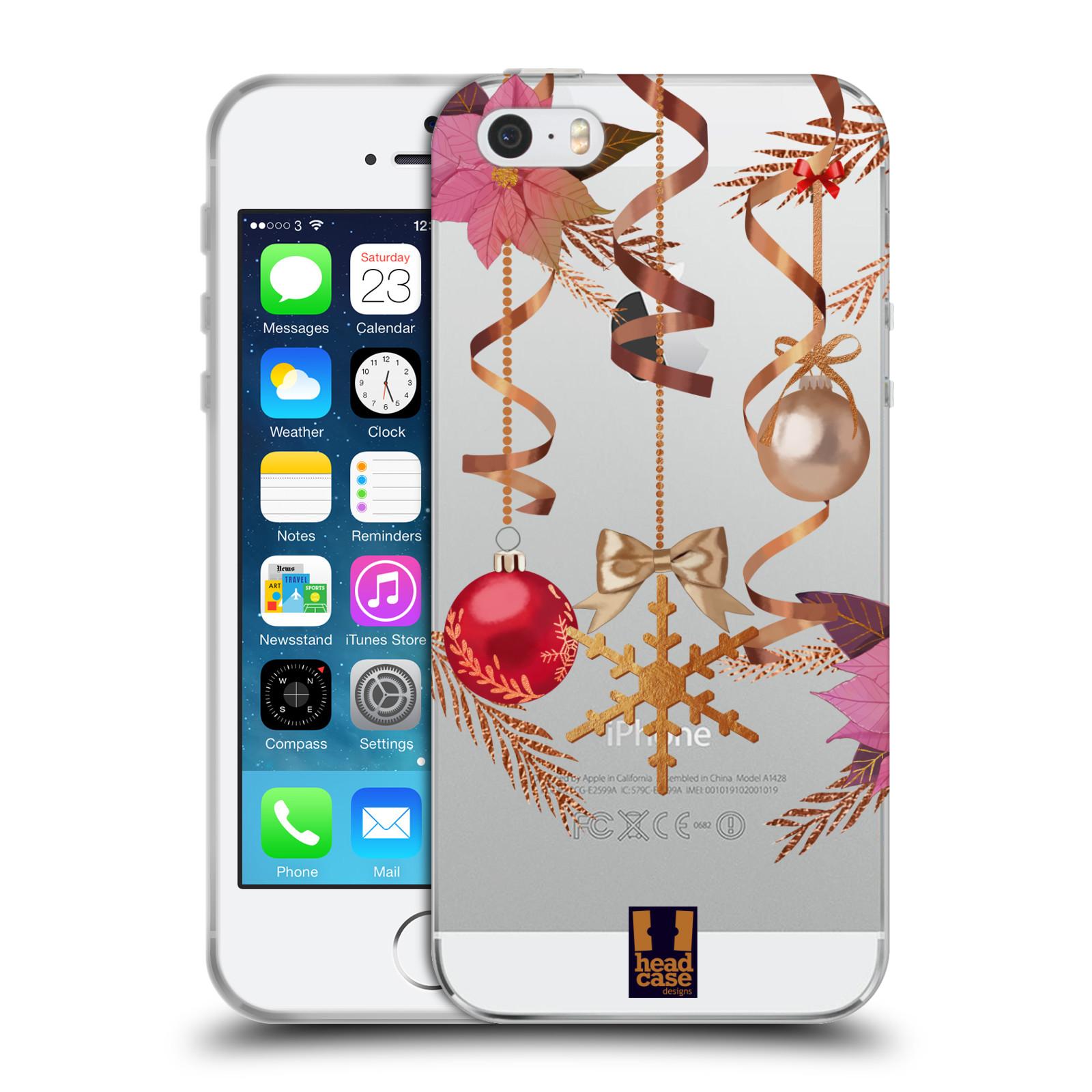 Silikonové pouzdro na mobil Apple iPhone 5, 5S, SE - Head Case - Vločka a vánoční ozdoby