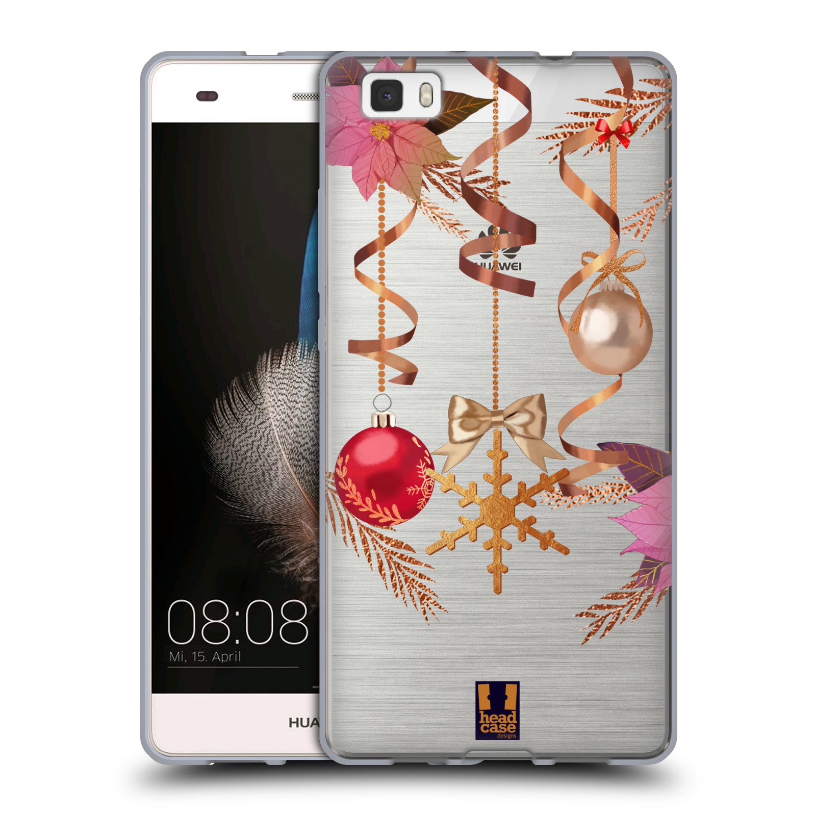 Silikonové pouzdro na mobil Huawei P8 Lite - Head Case - Vločka a vánoční ozdoby